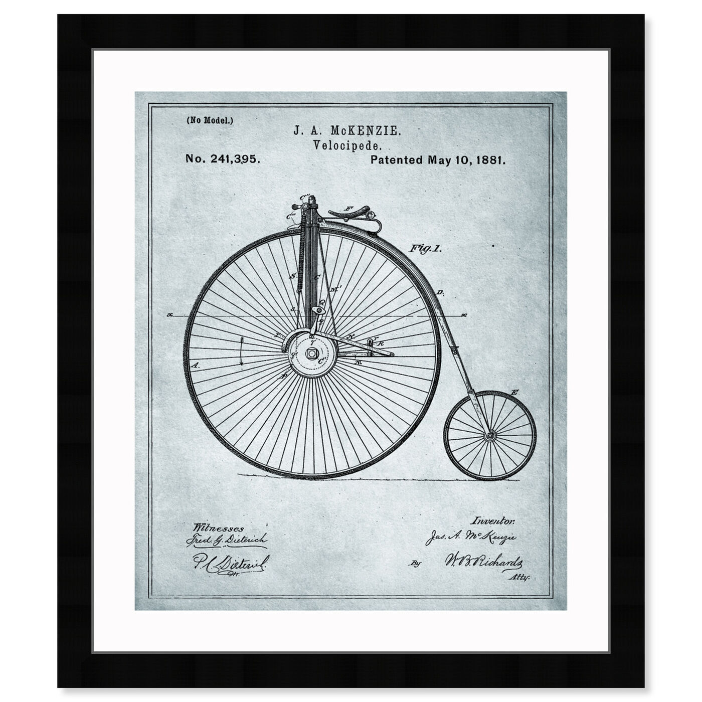 Front view of McKenzie Velocipede, 1881 - Gray featuring transportation and bicycles art.