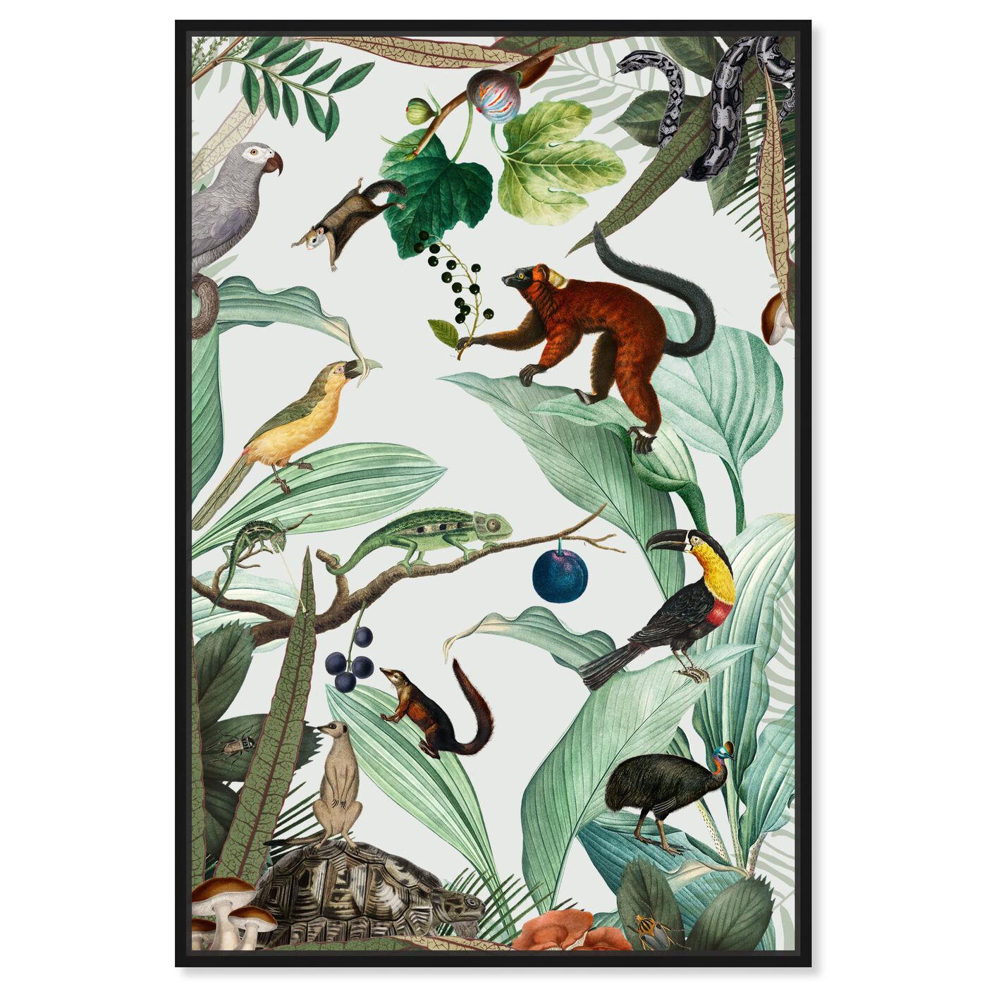 Front view of La Jungla del Fruto featuring animals and birds art.