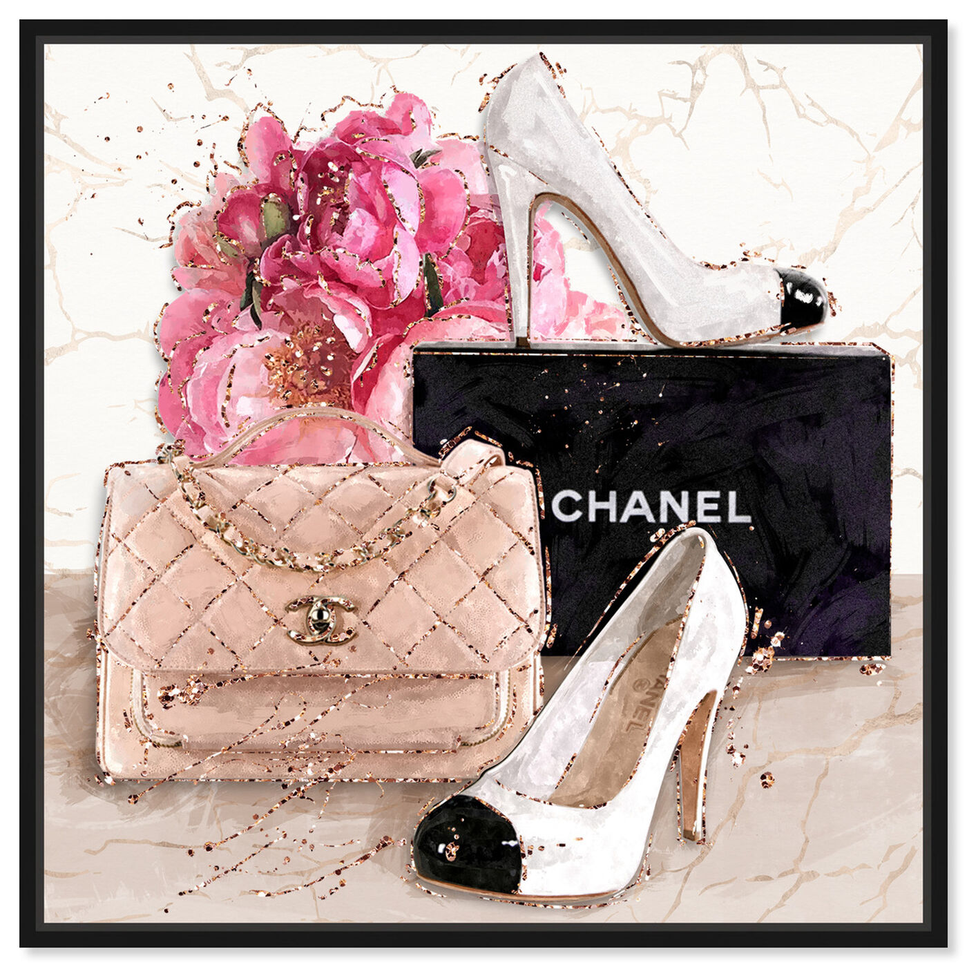 Front view of Her Treasures featuring fashion and glam and handbags art.