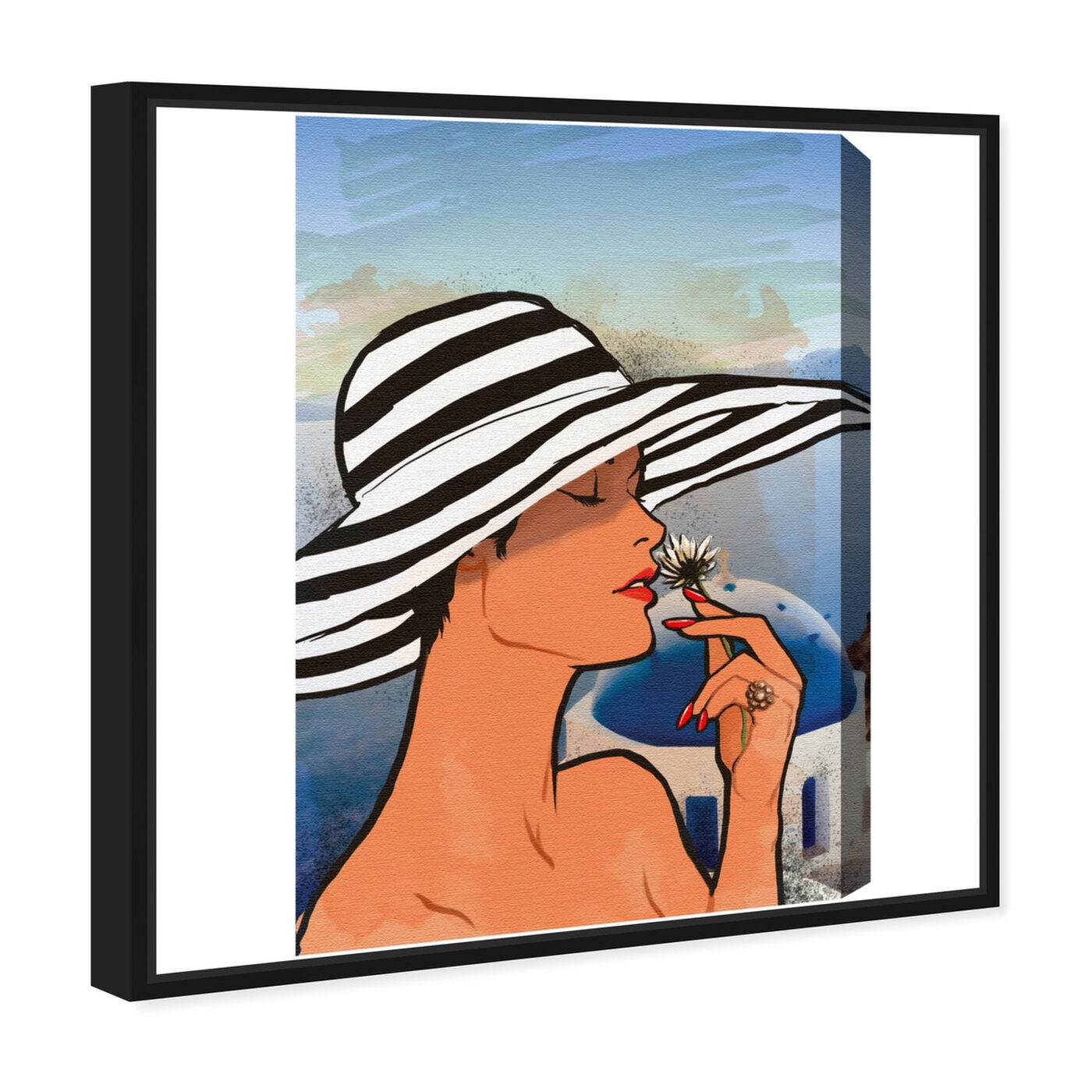 Angled view of Summer in Mykonos featuring fashion and glam and accessories art.