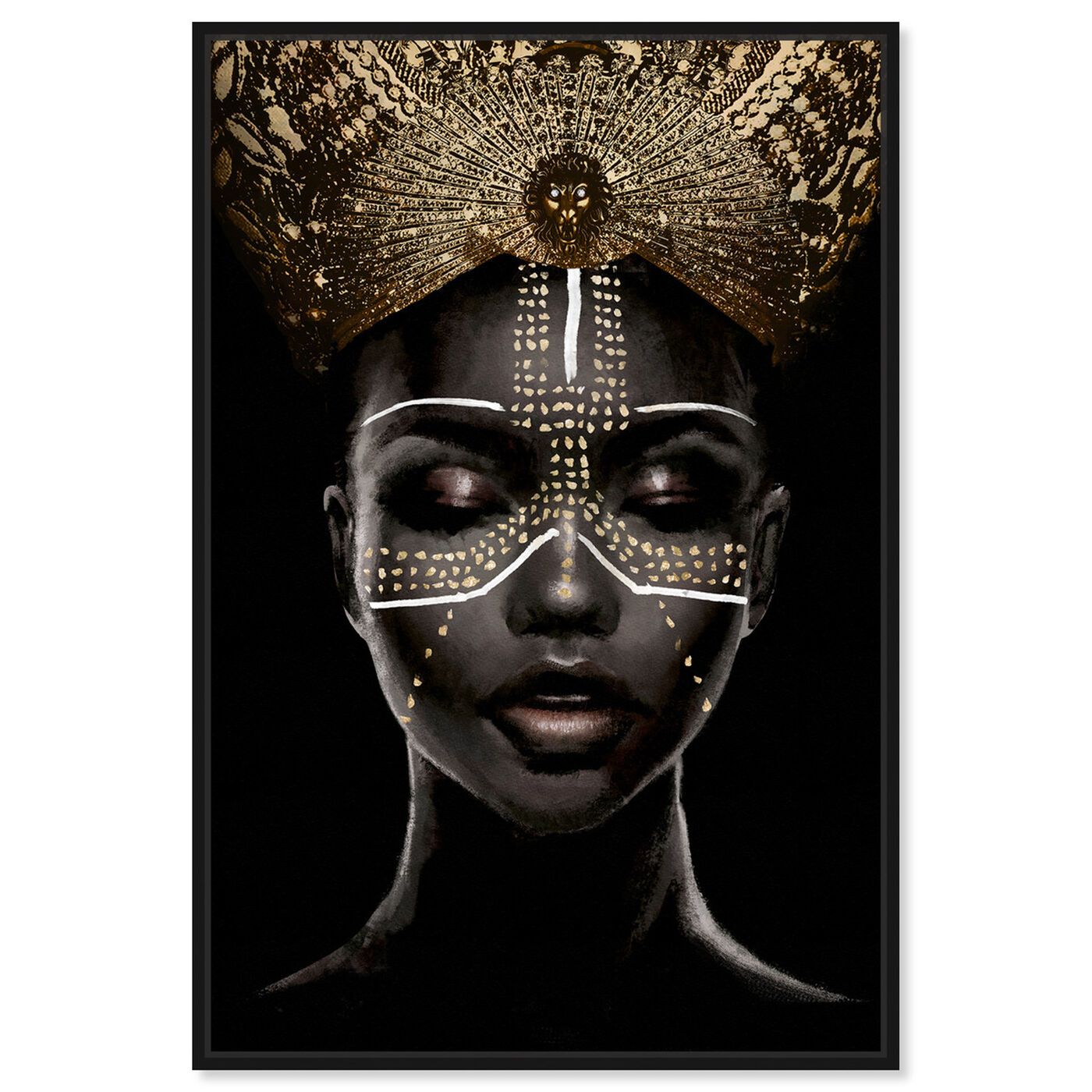 Front view of Queenly Reign of Gold II featuring fashion and glam and portraits art.
