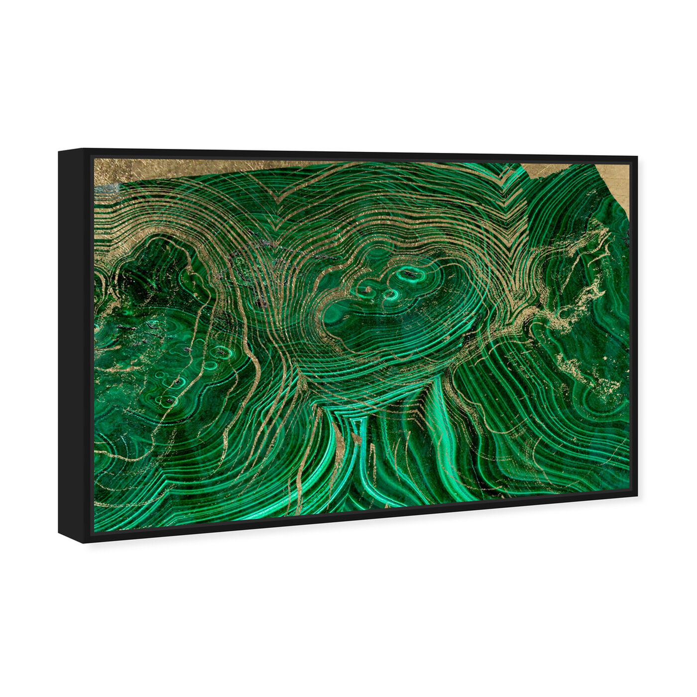 Angled view of Emerald Agate featuring abstract and crystals art.