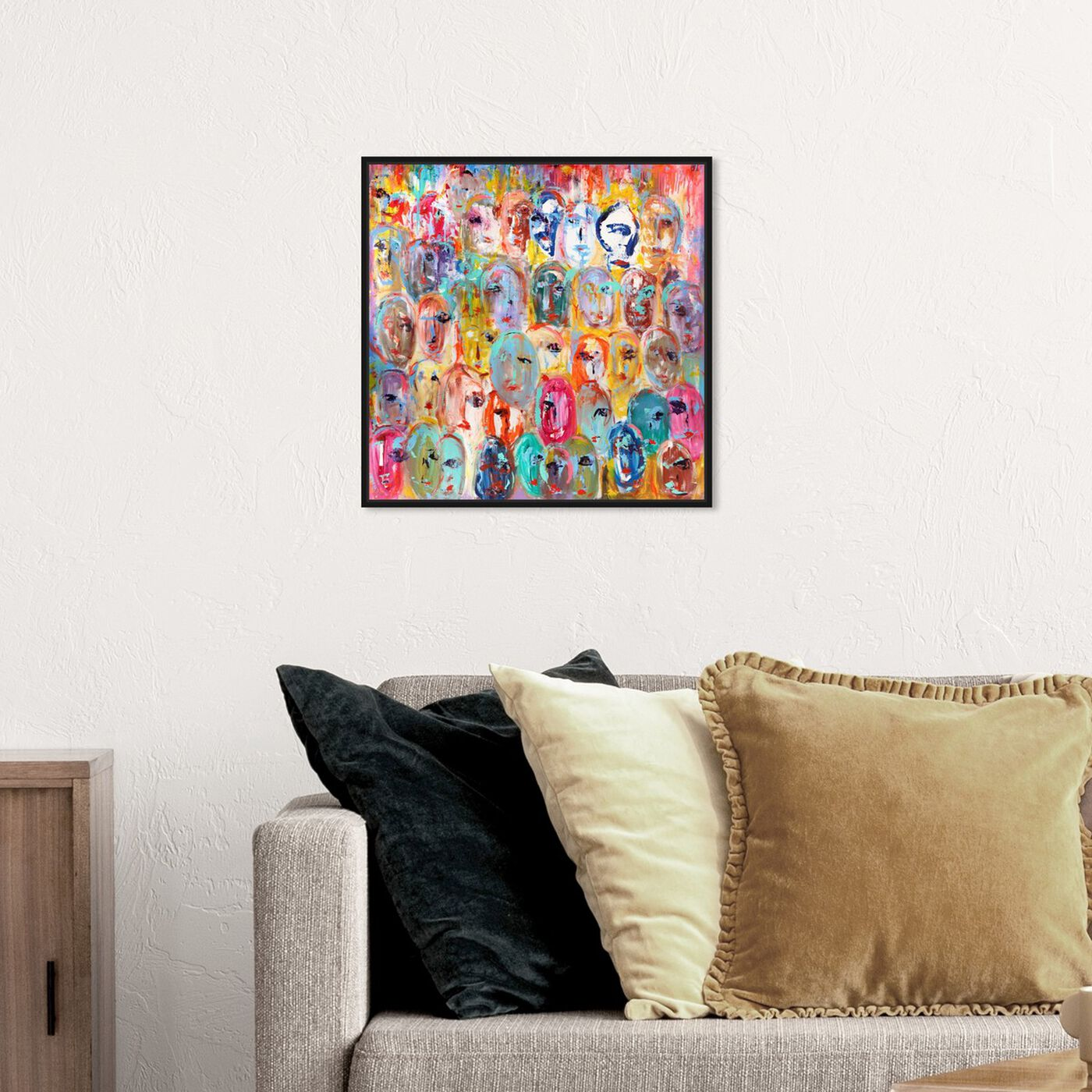 Hanging view of Sai - Visages De Couleur featuring abstract and paint art.