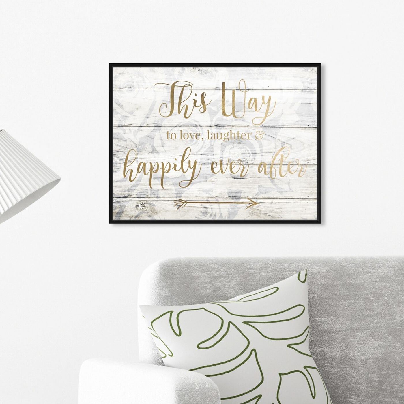 Hanging view of This Way To Happily Ever After featuring typography and quotes and love quotes and sayings art.