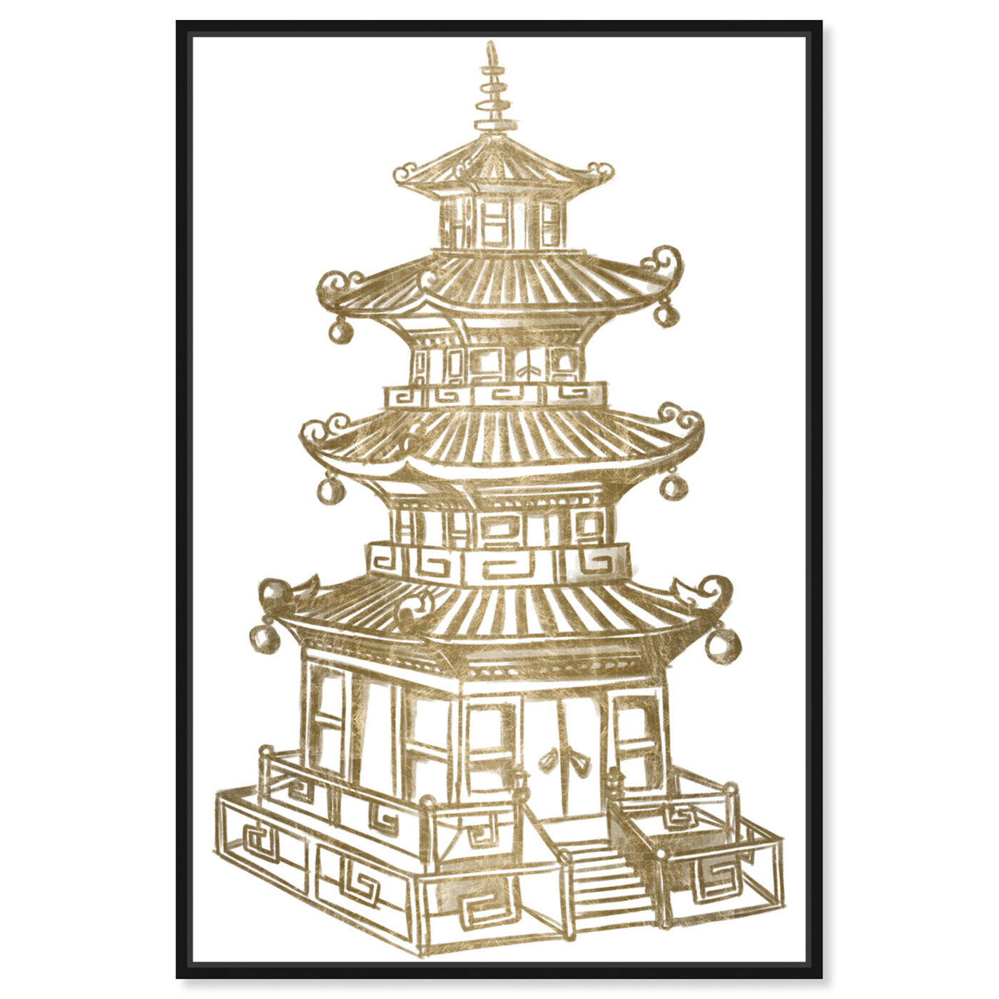 Front view of Pagoda Gold featuring architecture and buildings and asian buildings art.