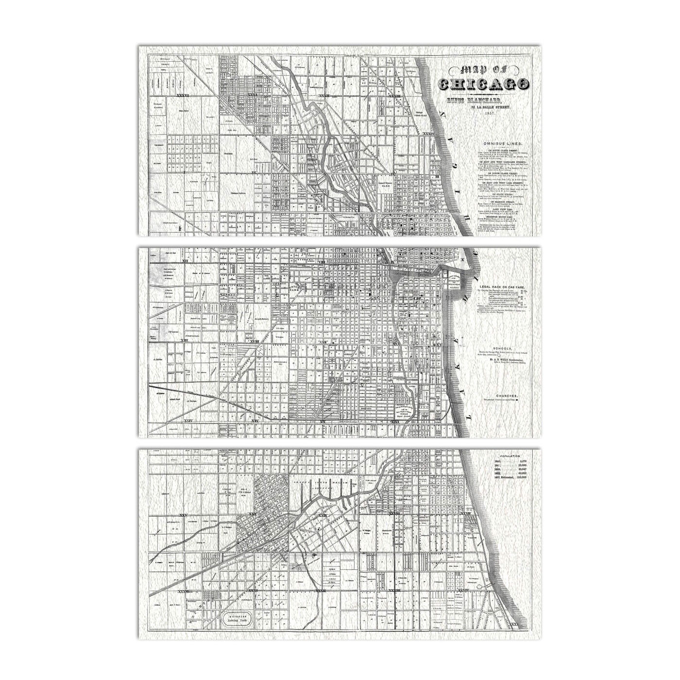 Map of Chicago 1857 Triptych