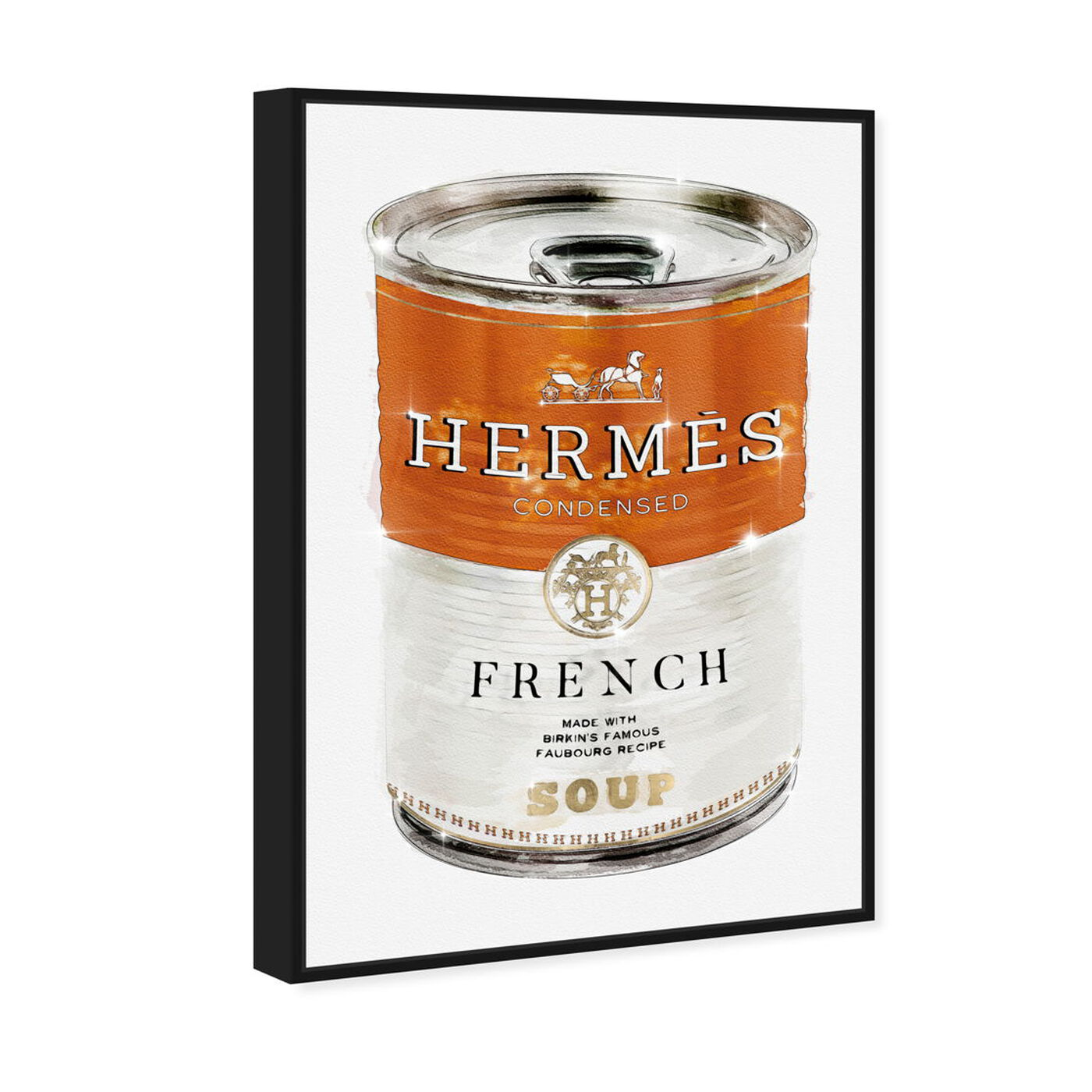 Angled view of French Luxe Soup featuring fashion and glam and soup can art.