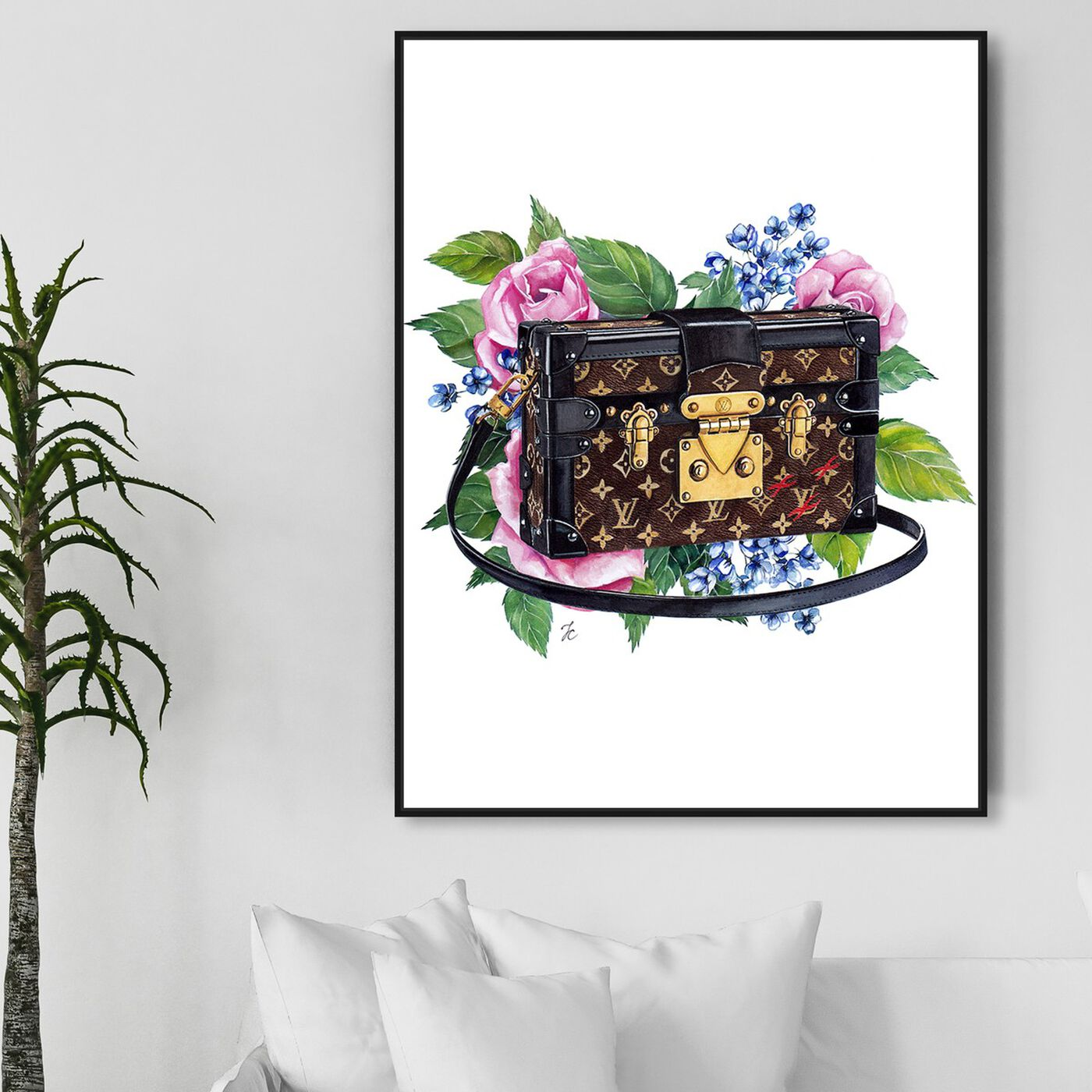 Hanging view of Doll Memories - Floral Trunk featuring fashion and glam and handbags art.