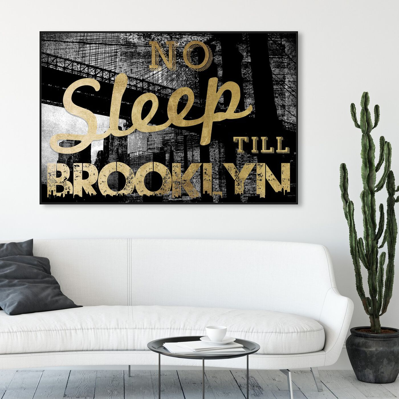 Hanging view of No Sleep Brooklyn Gold featuring cities and skylines and united states cities art.