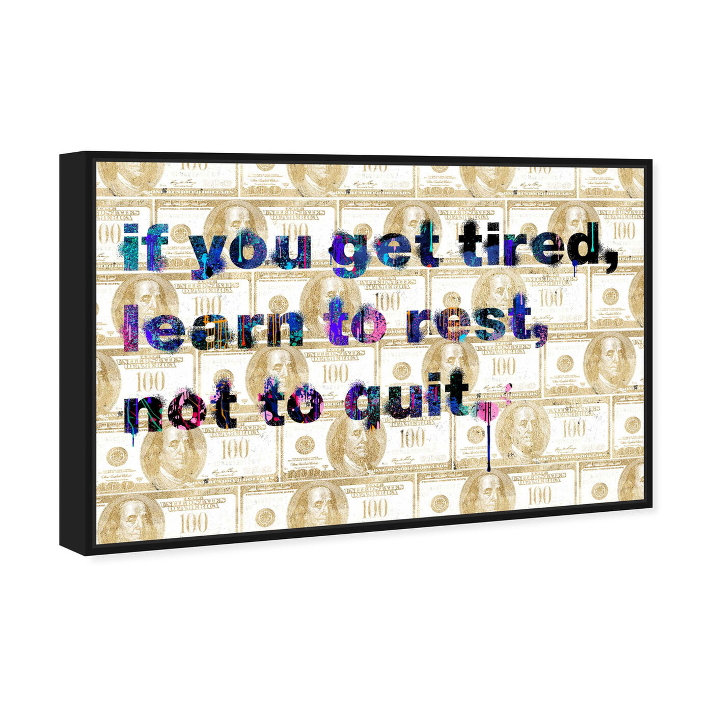 Angled view of Learn to Rest featuring typography and quotes and motivational quotes and sayings art.