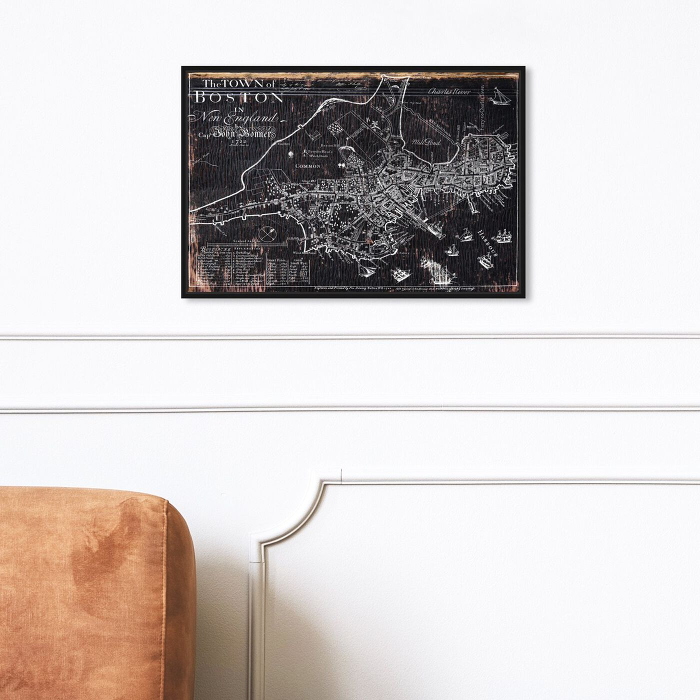 Hanging view of Town of Boston Map 1722 featuring maps and flags and us cities maps art.