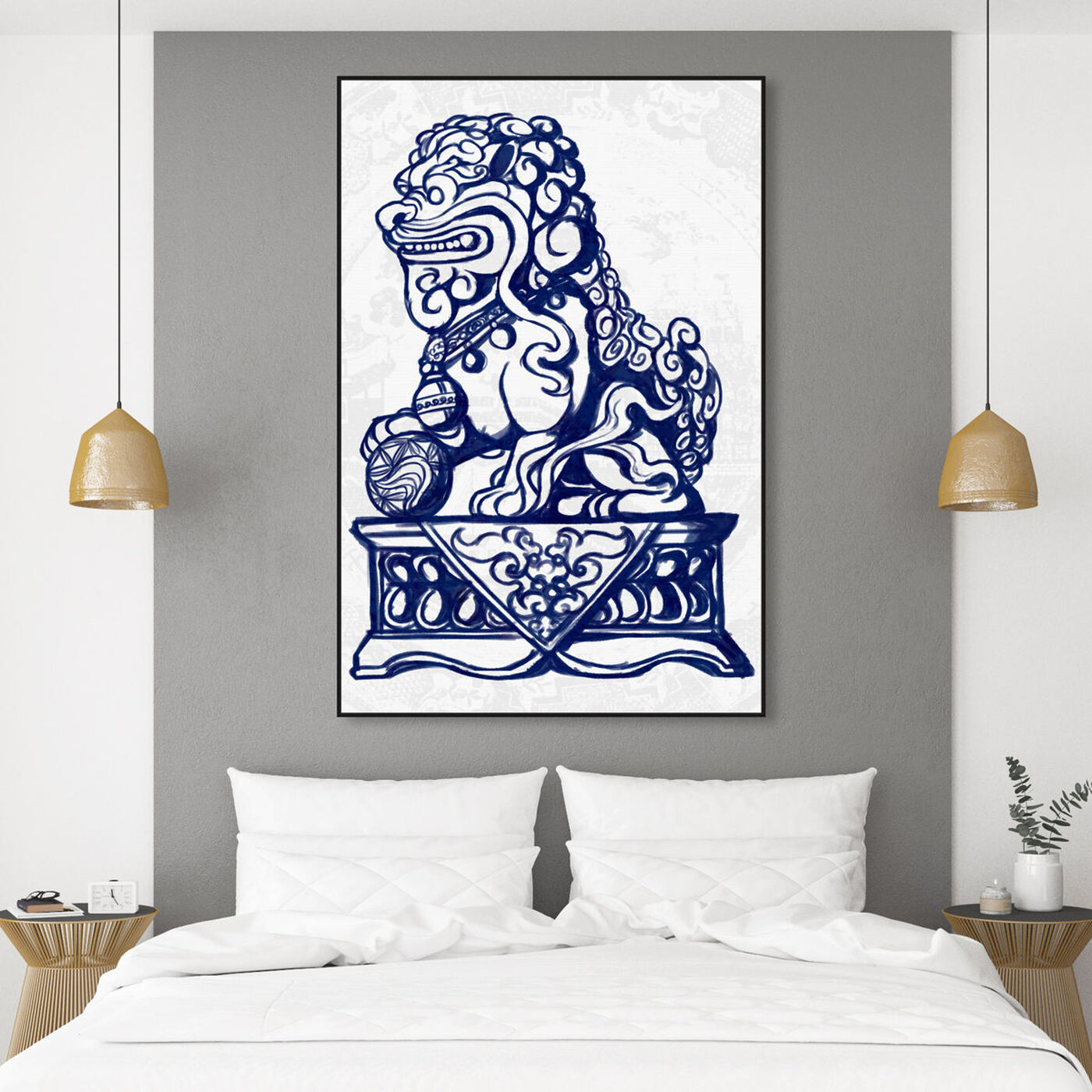 Hanging view of Julianne Taylor Style - Foo Dog Navy featuring world and countries and asian cultures art.