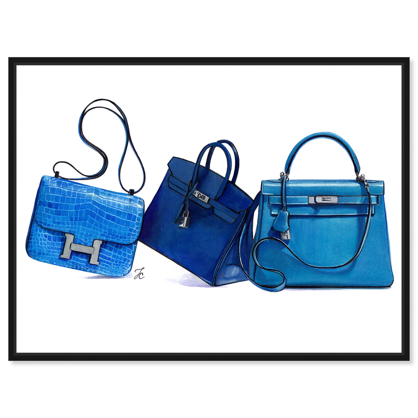 Front view of Doll Memories - Blue Shades  I featuring fashion and glam and handbags art.