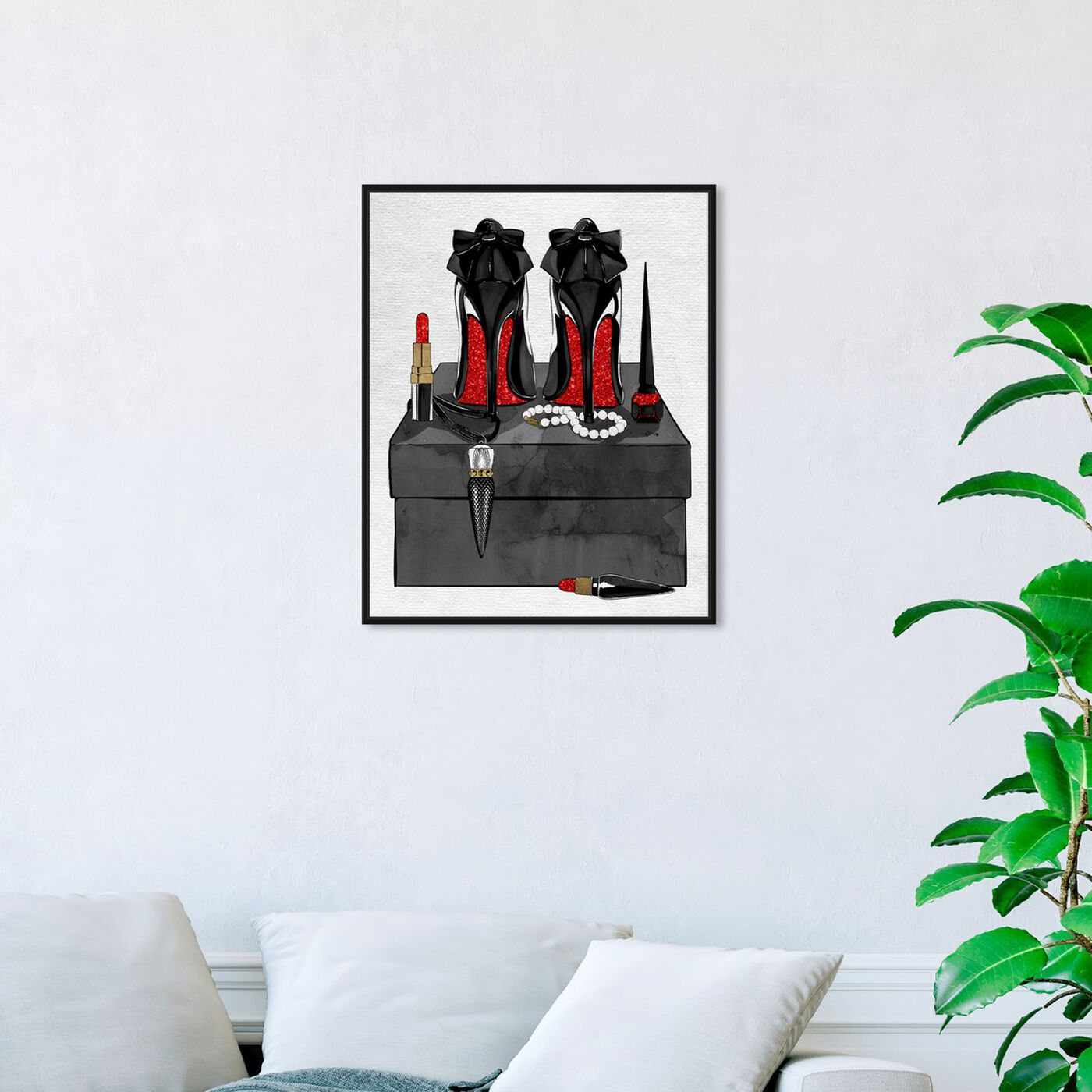 Hanging view of Her Favorite Accessories Glitter featuring fashion and glam and shoes art.