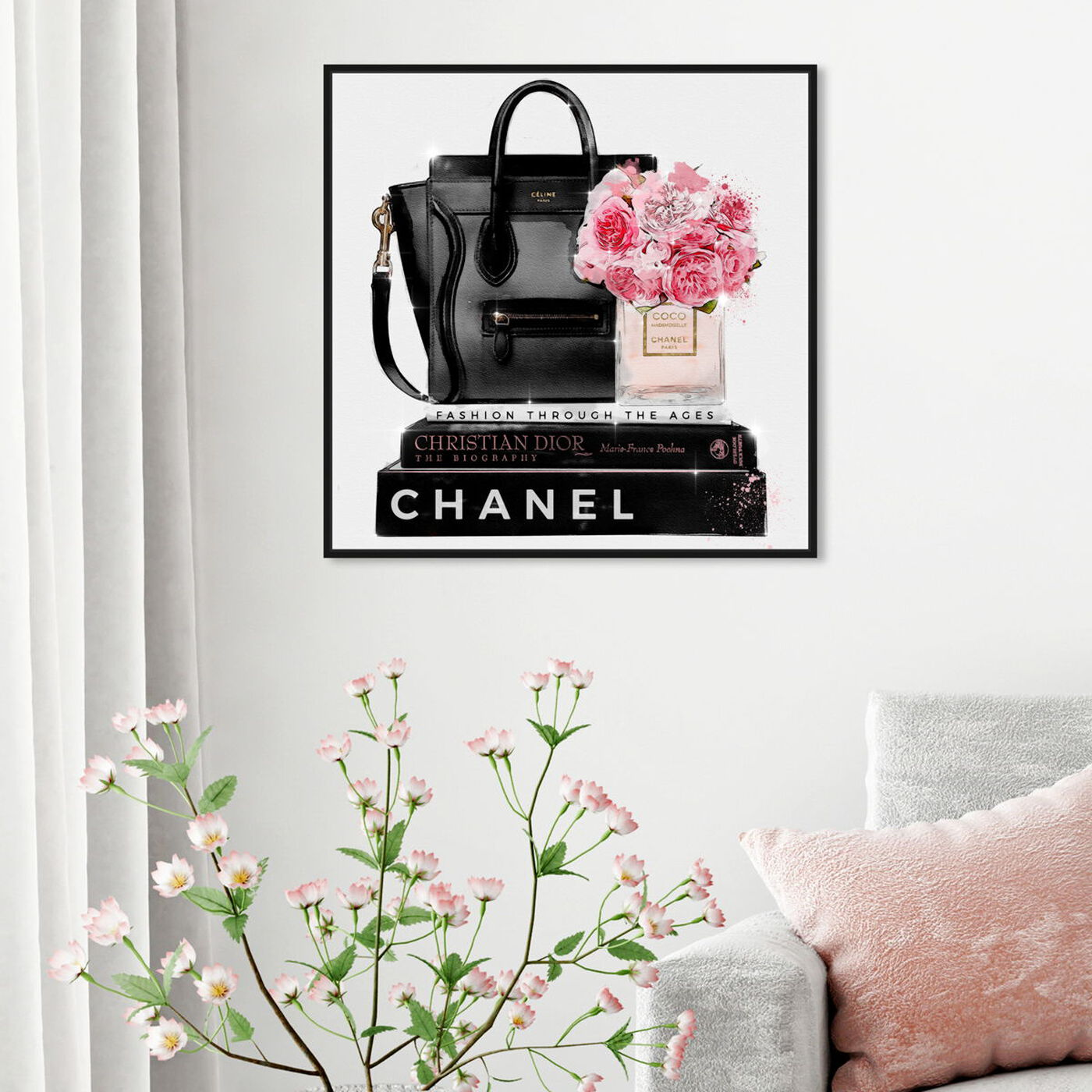 Hanging view of Elegant Essentials Square featuring fashion and glam and handbags art.