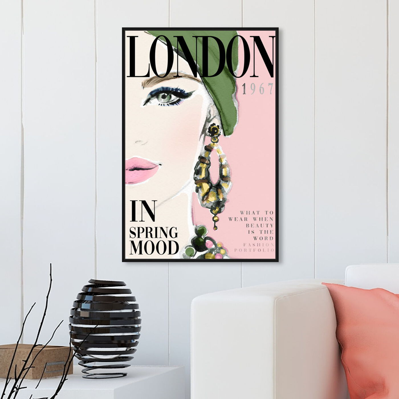 Hanging view of Cover London Watercolor featuring advertising and publications art.