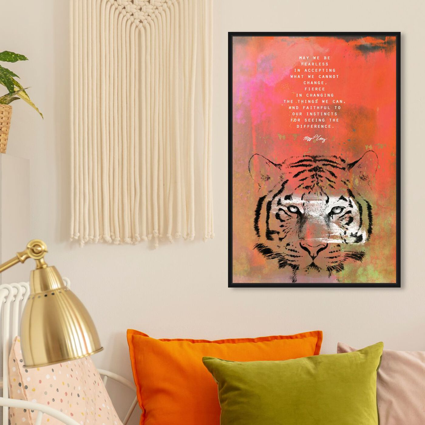 Hanging view of Maggie P Chang - Tiger featuring typography and quotes and motivational quotes and sayings art.