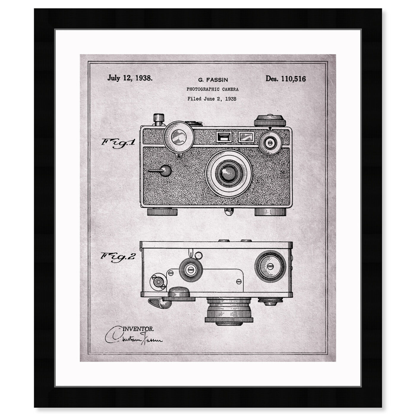 Front view of Fassin Camera, 1938 - Gray featuring entertainment and hobbies and photography art.