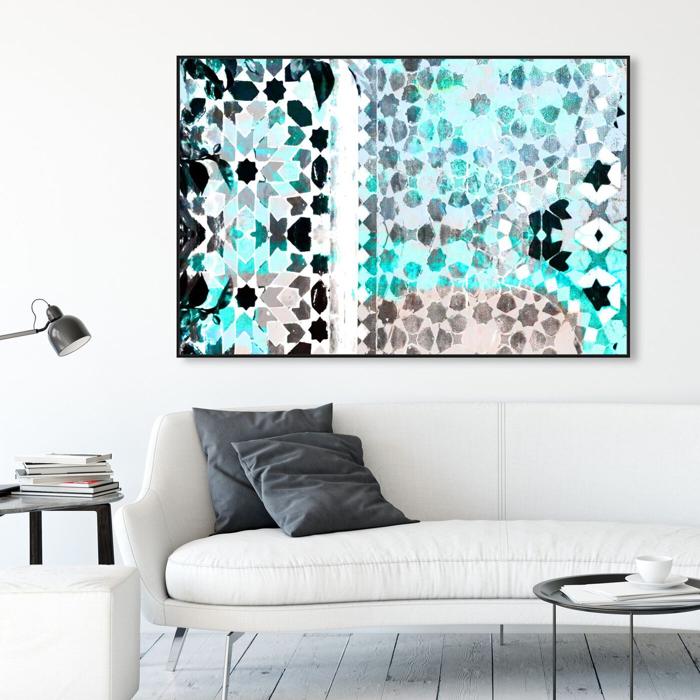 Hanging view of Zahir featuring abstract and patterns art.