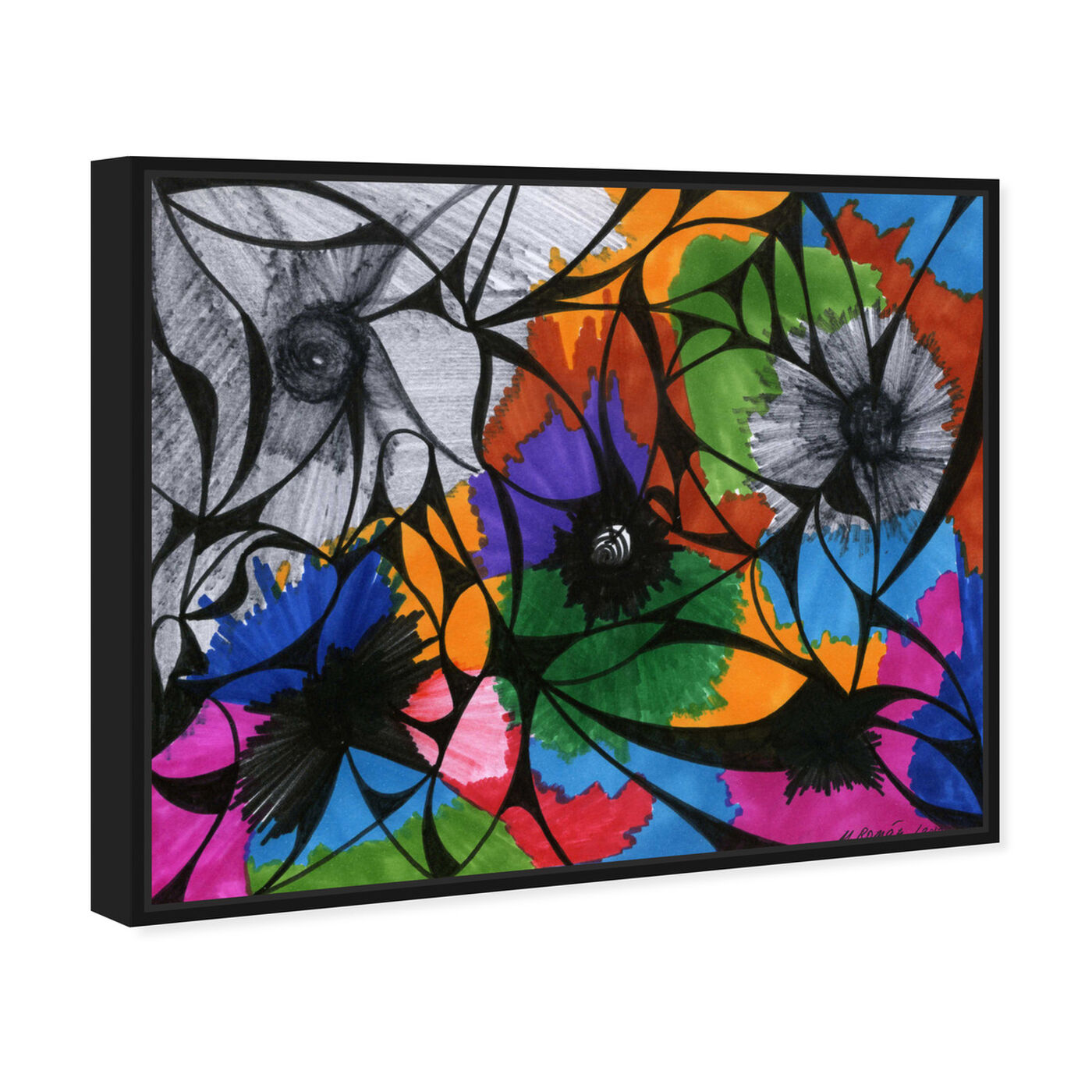 Angled view of Summer Bloom featuring abstract and flowers art.