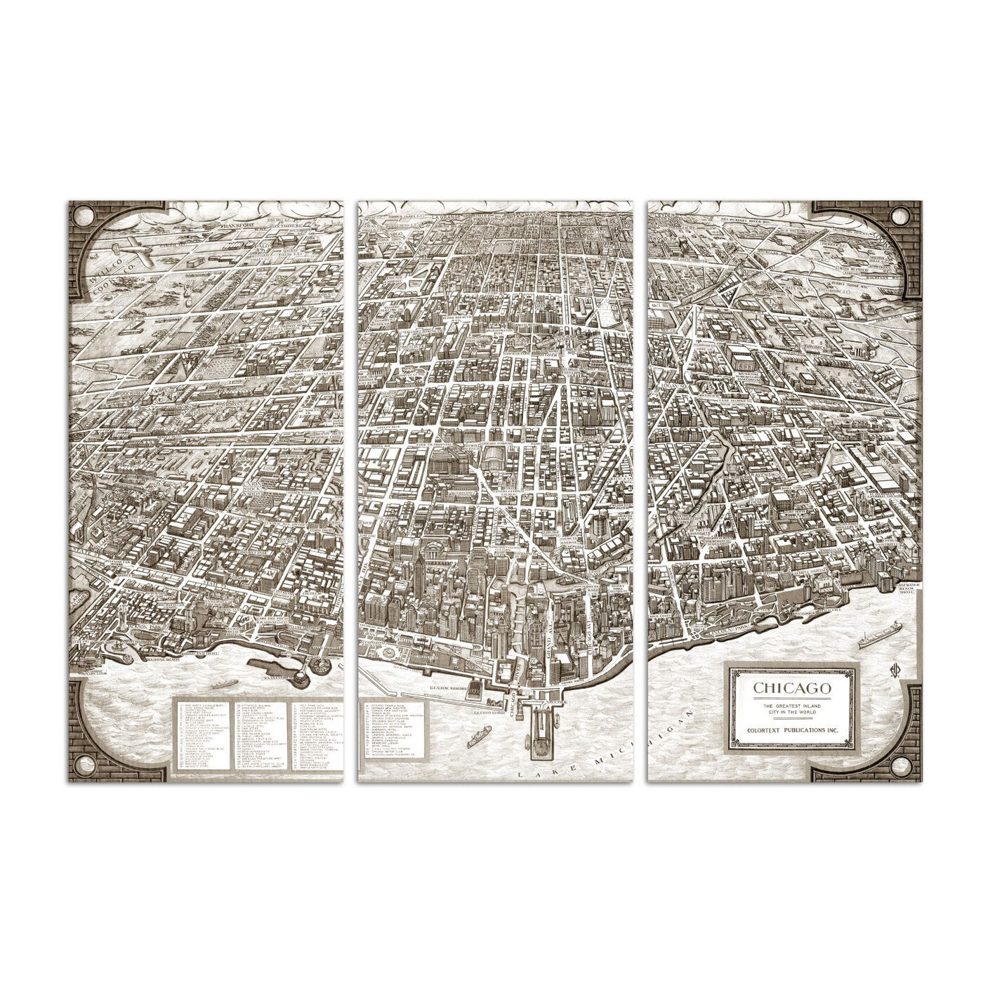 Chicago 1938 Map Triptych