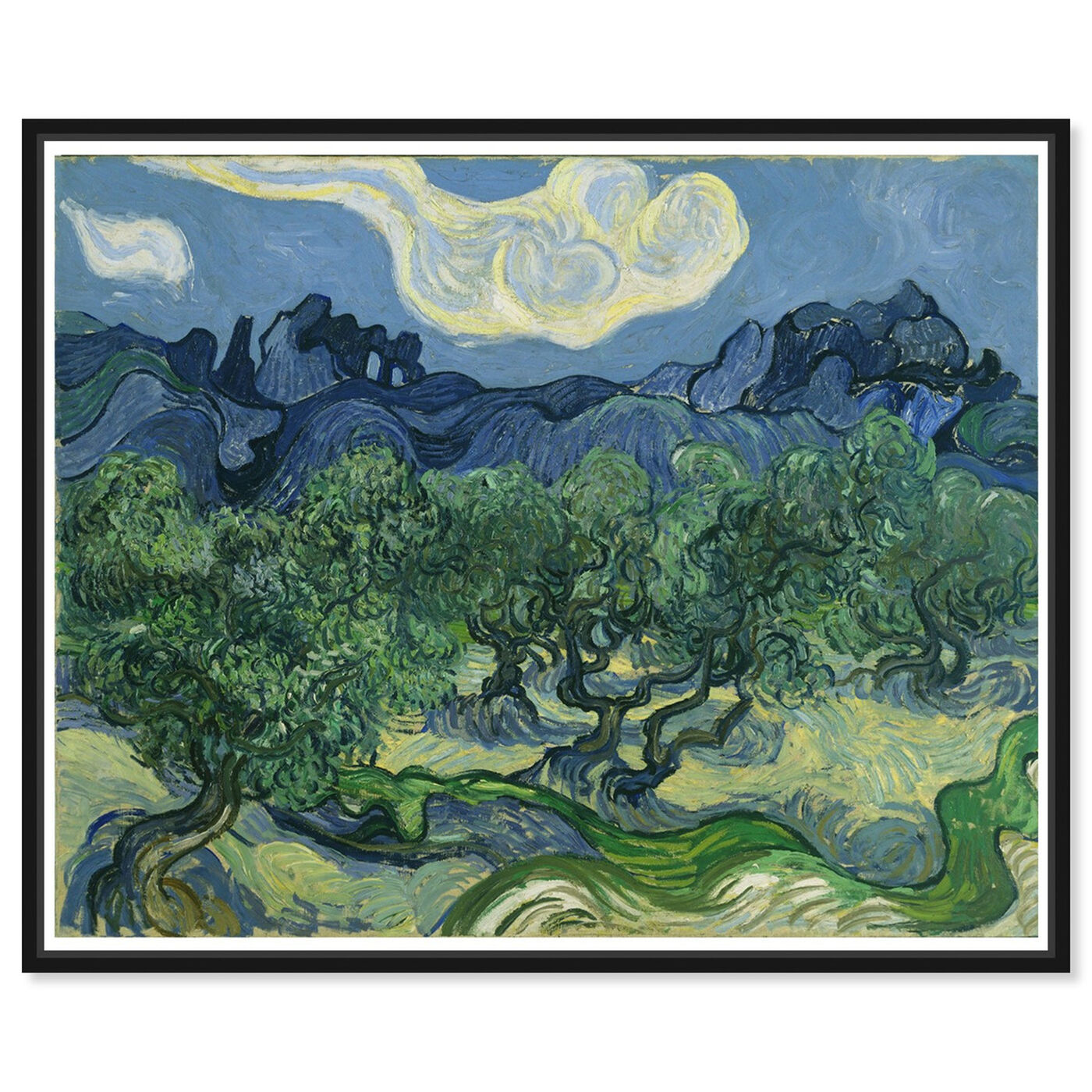 Front view of Van Gogh - The Olive Trees featuring classic and figurative and impressionism art.