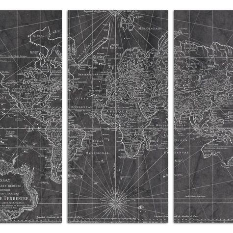 World Map 1778 Triptych