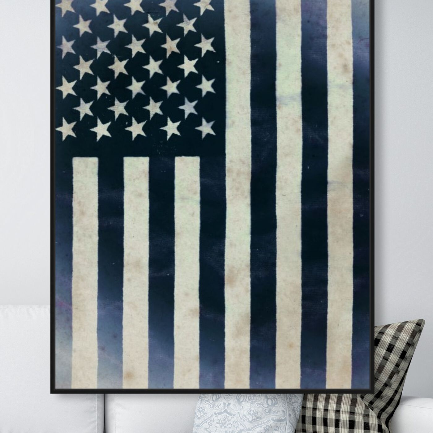 Hanging view of Inked America I featuring americana and patriotic and us flags art.