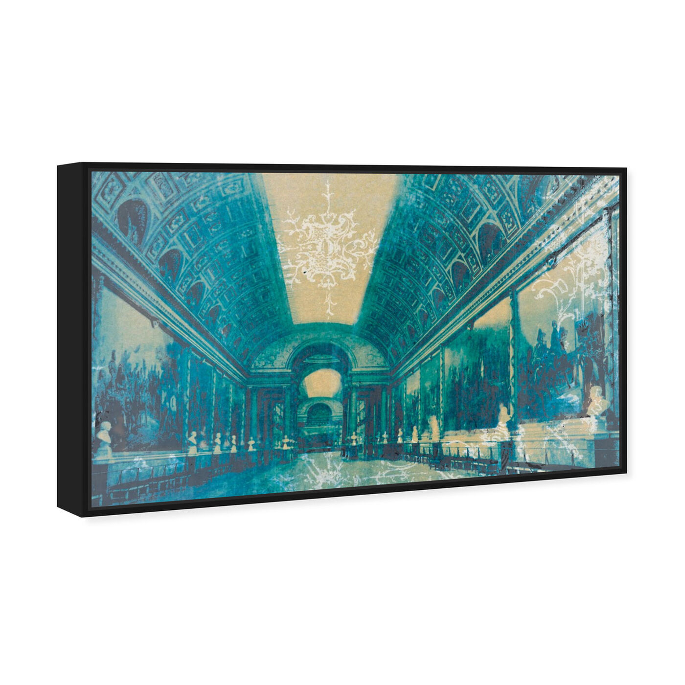 Angled view of Gallery of Battles Versailles Blue featuring architecture and buildings and european buildings art.