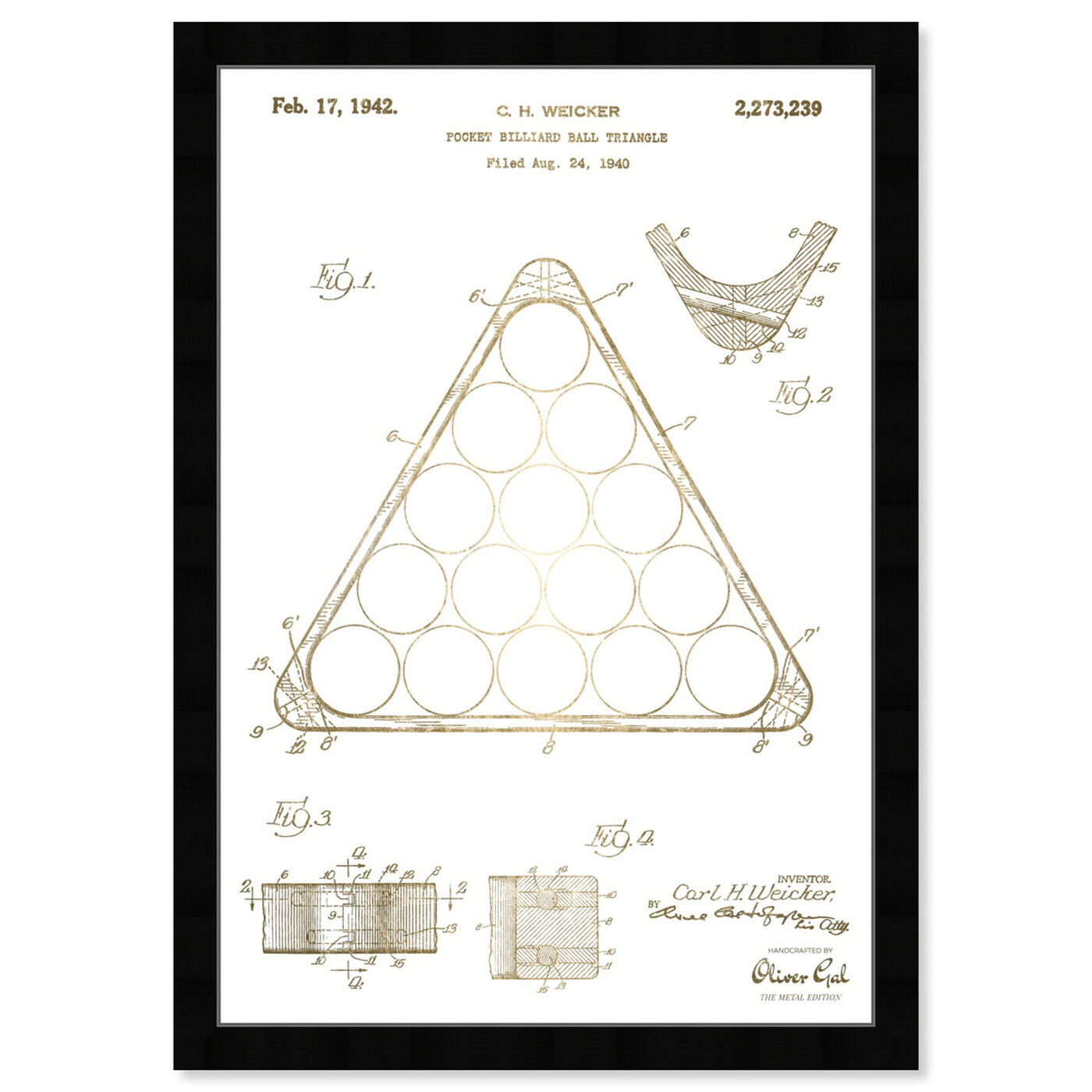 Front view of Pocket Billiard Ball Triangle 1942 featuring entertainment and hobbies and billiards art.