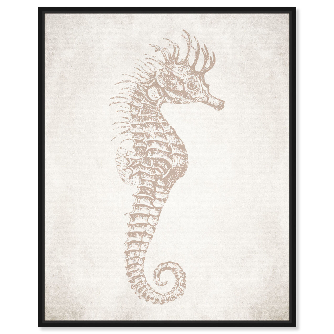 Front view of Seahorse Neutral featuring nautical and coastal and marine life art.