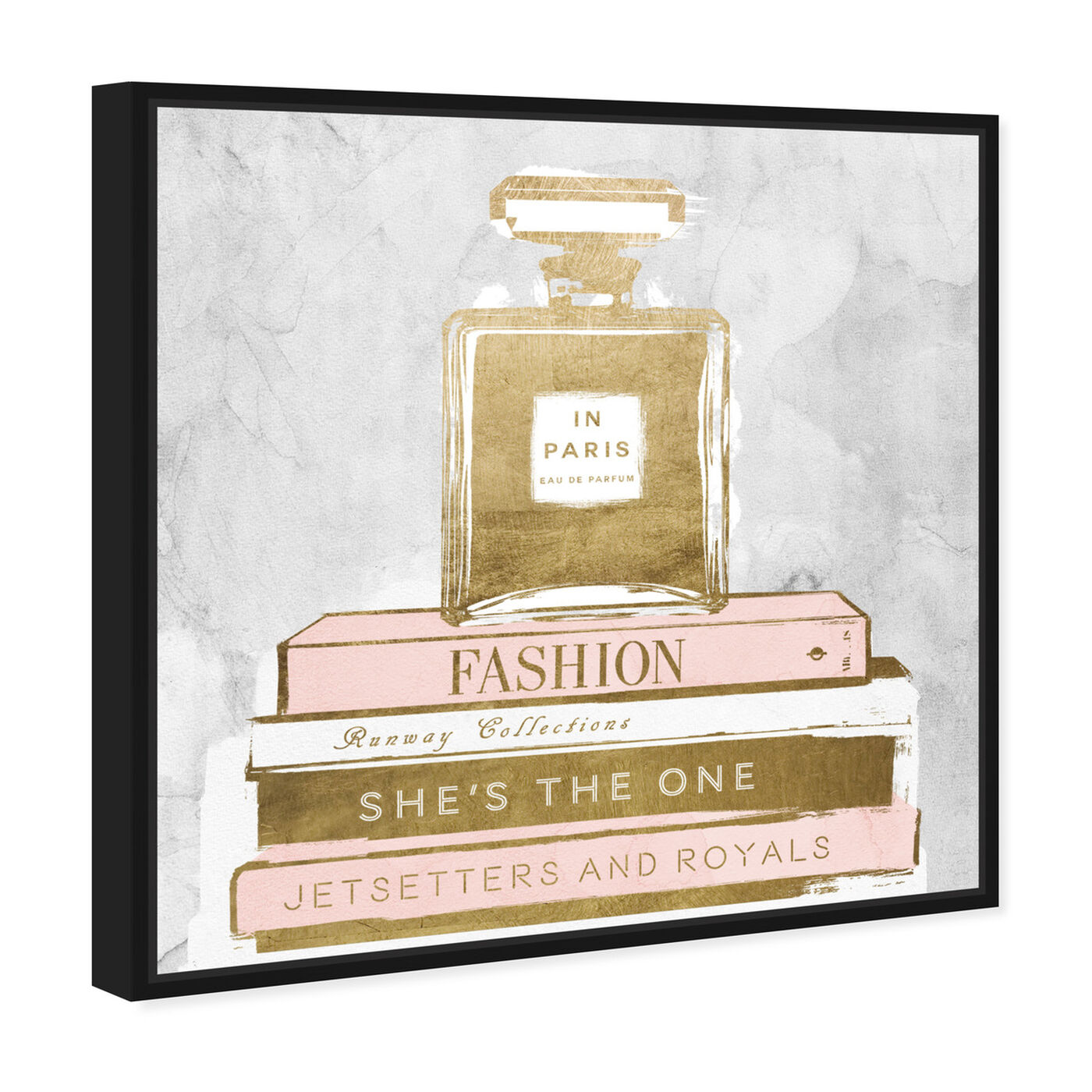 Angled view of Perfume and Books Gray featuring fashion and glam and perfumes art.