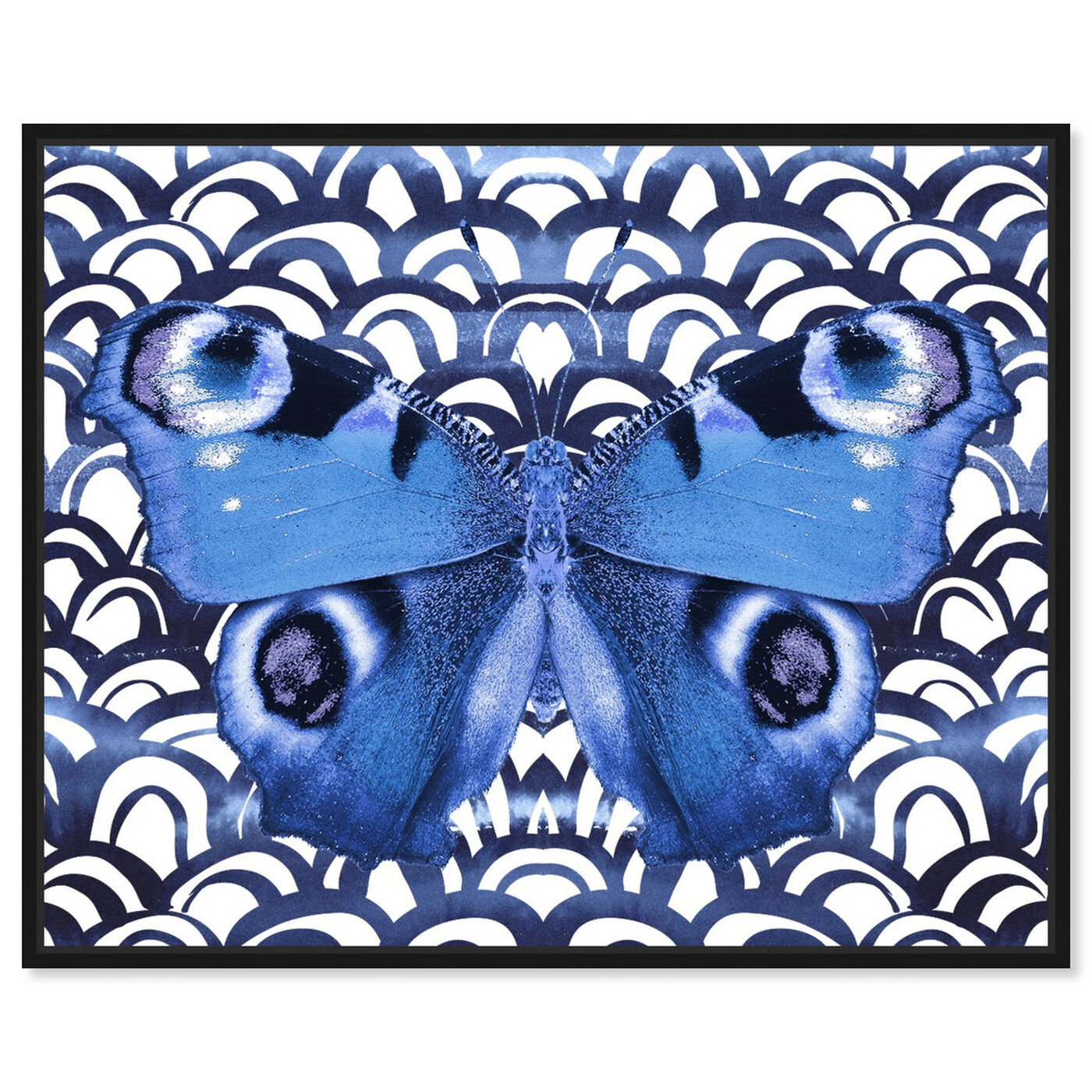 Front view of Butterfly Indigo featuring animals and insects art.