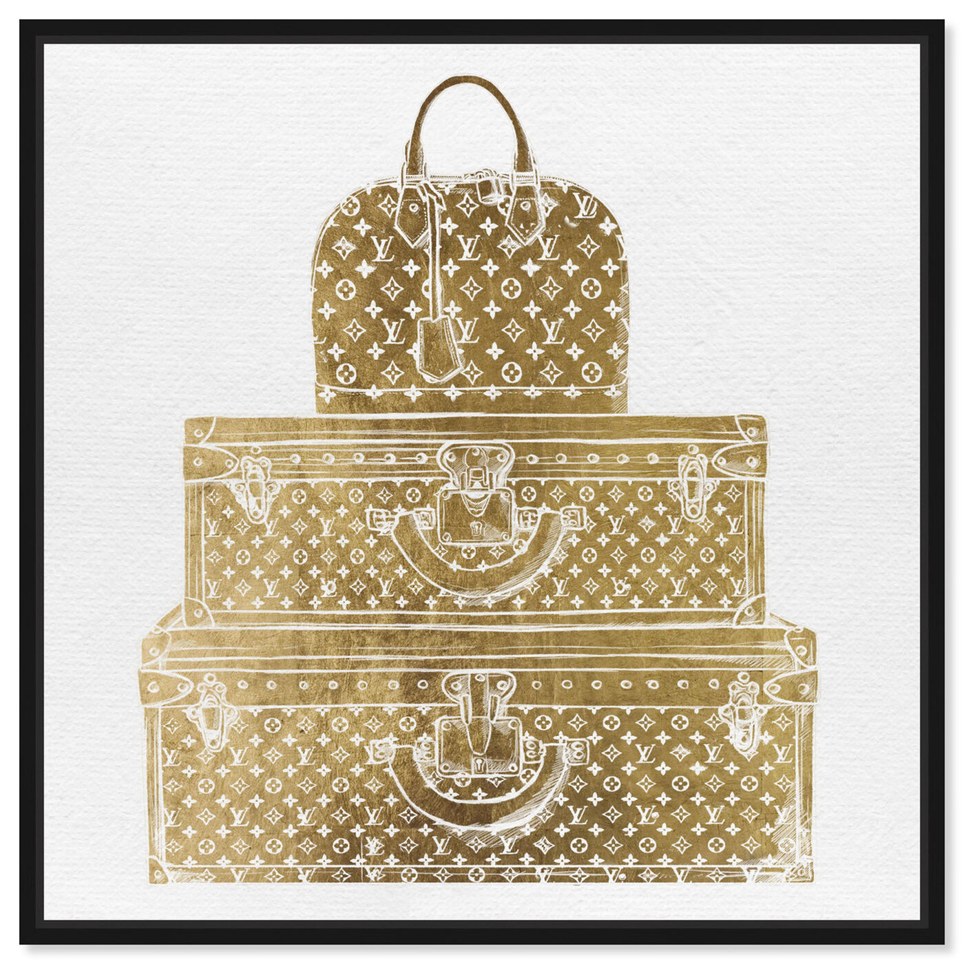 Front view of Royal Bag and Luggage Gold featuring fashion and glam and travel essentials art.