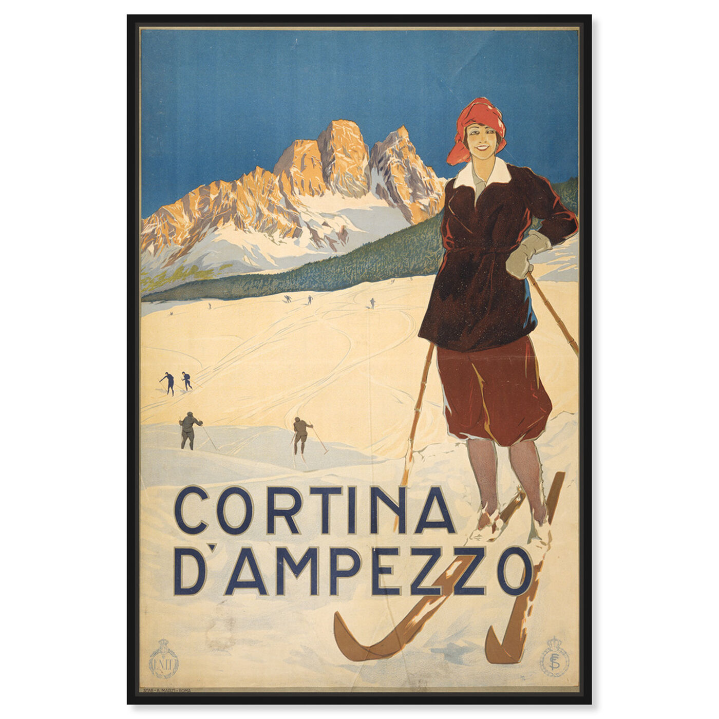 Front view of Cortina D'Ampezzo featuring sports and teams and skiing art.