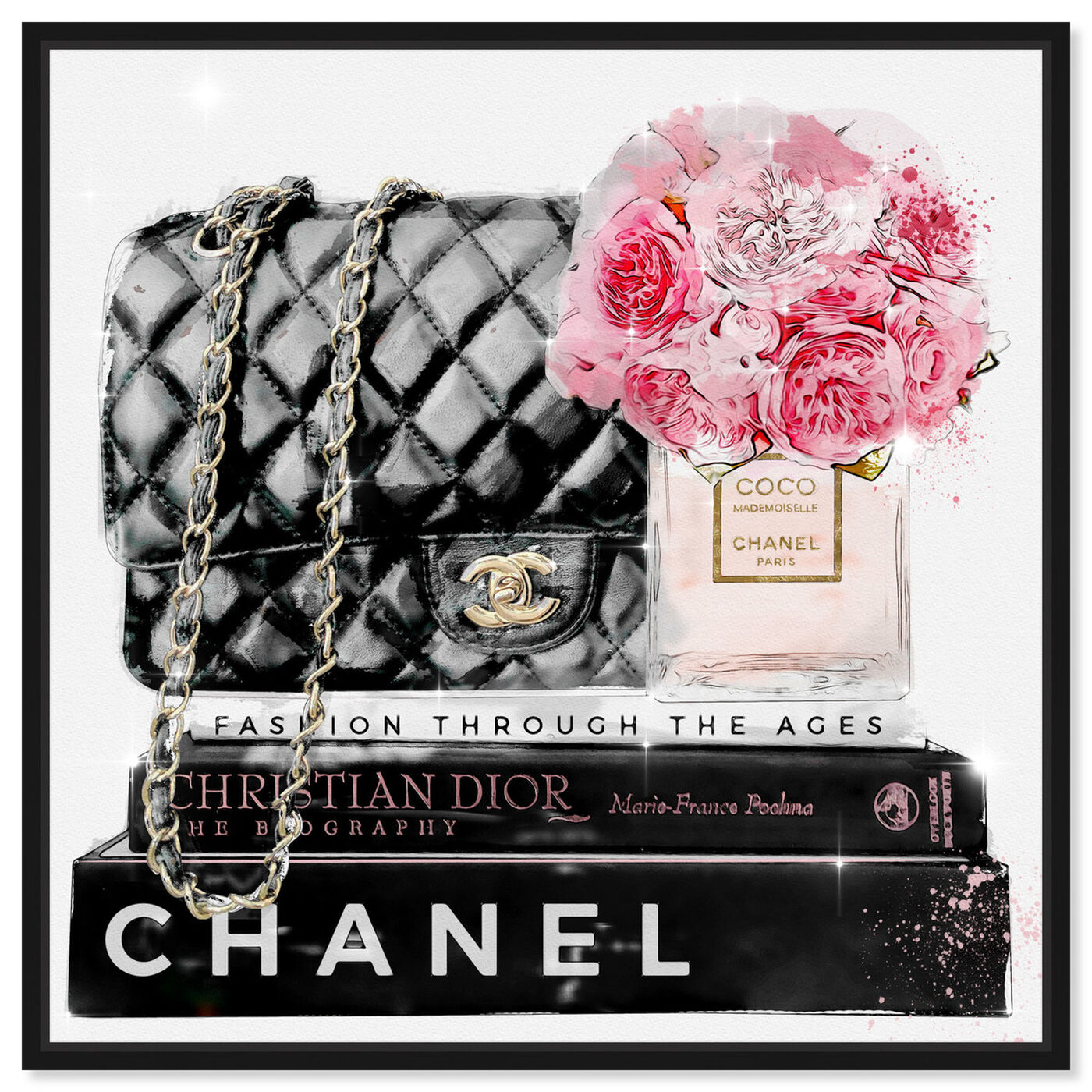Front view of Elegant Essentials Paris featuring fashion and glam and handbags art.