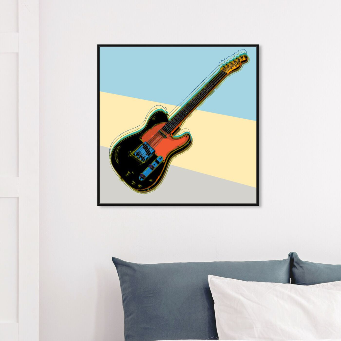 Hanging view of Telecaster Visions featuring music and dance and music instruments art.