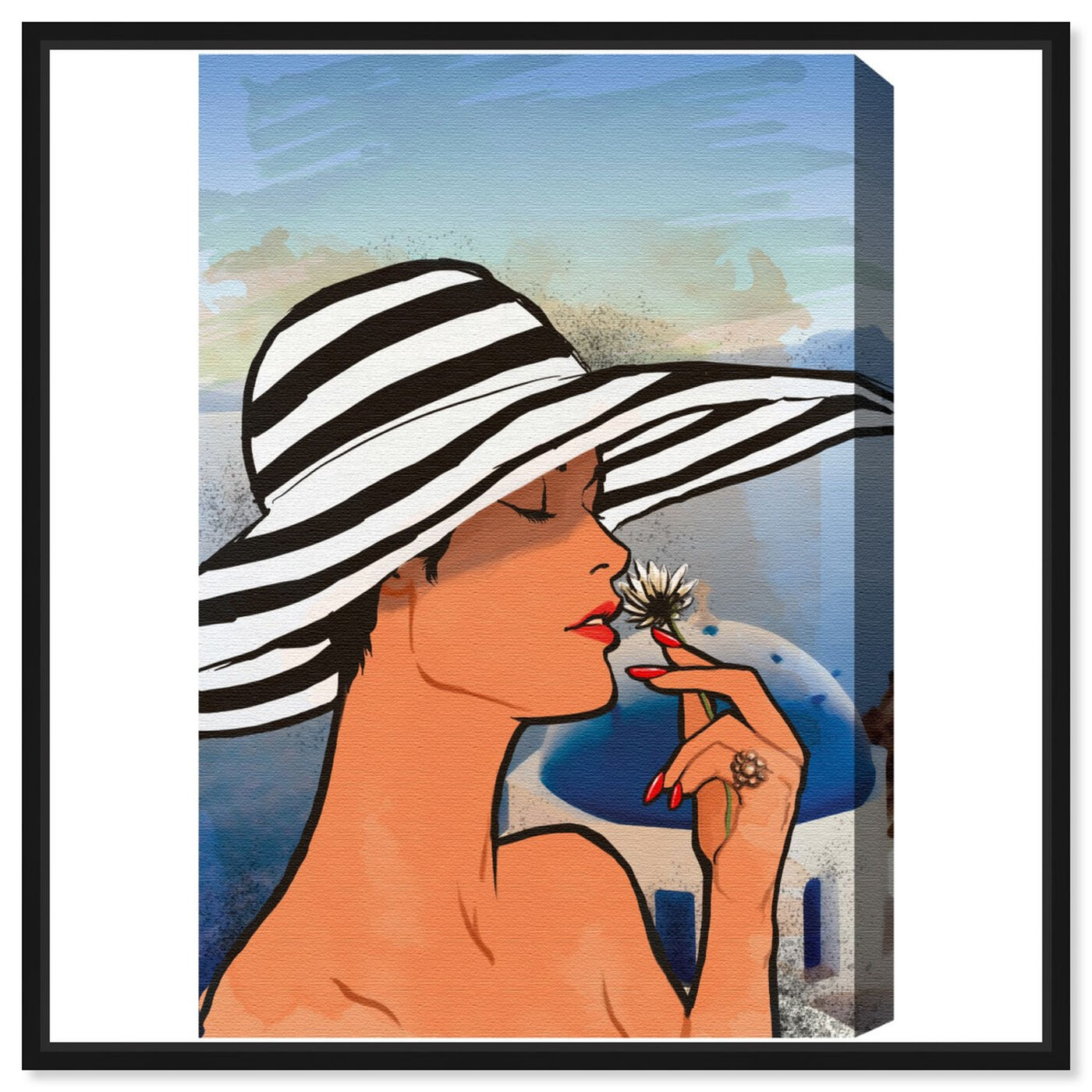 Front view of Summer in Mykonos featuring fashion and glam and accessories art.