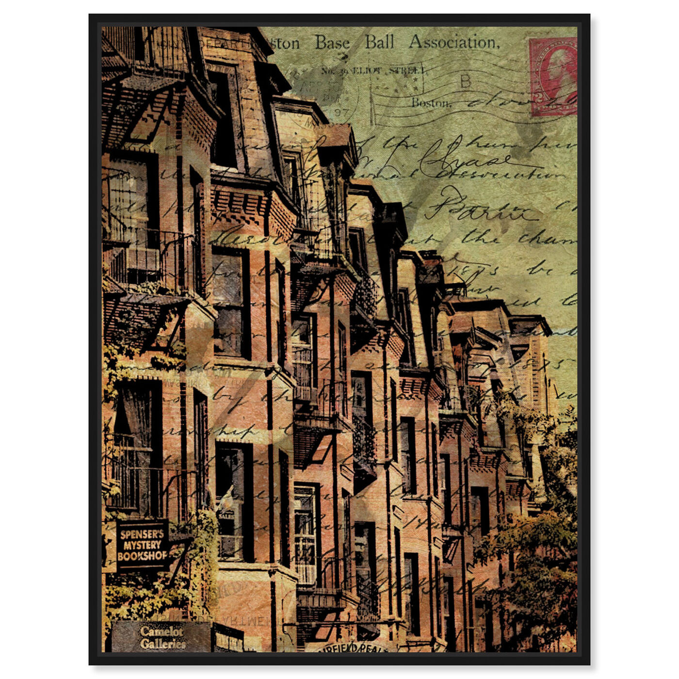 Front view of Boston Brownstone featuring cities and skylines and united states cities art.