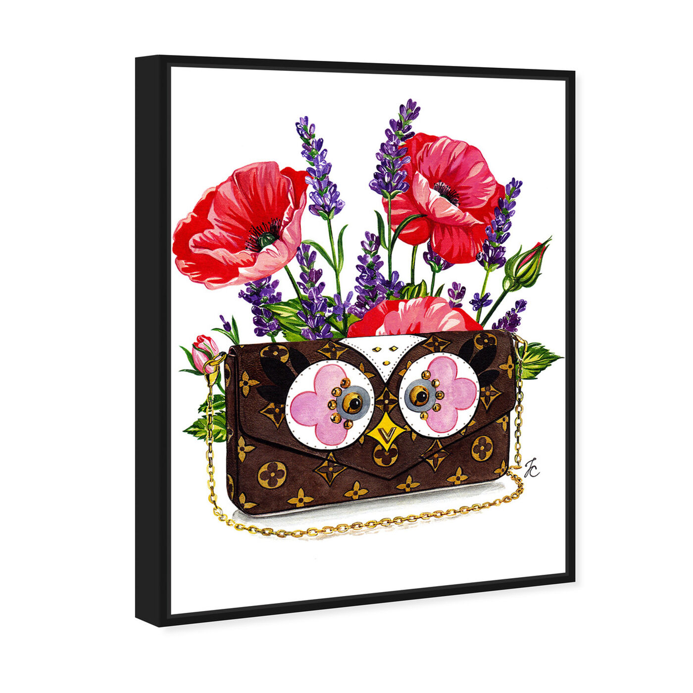Angled view of Doll Memories - Poppies and Owl featuring fashion and glam and handbags art.
