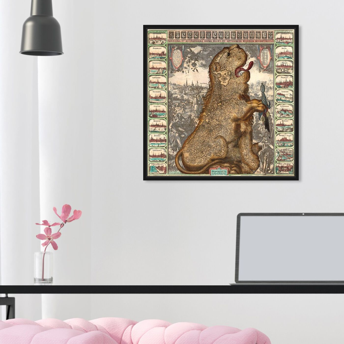Hanging view of Dutch Lion 1609 Map featuring maps and flags and european countries maps art.