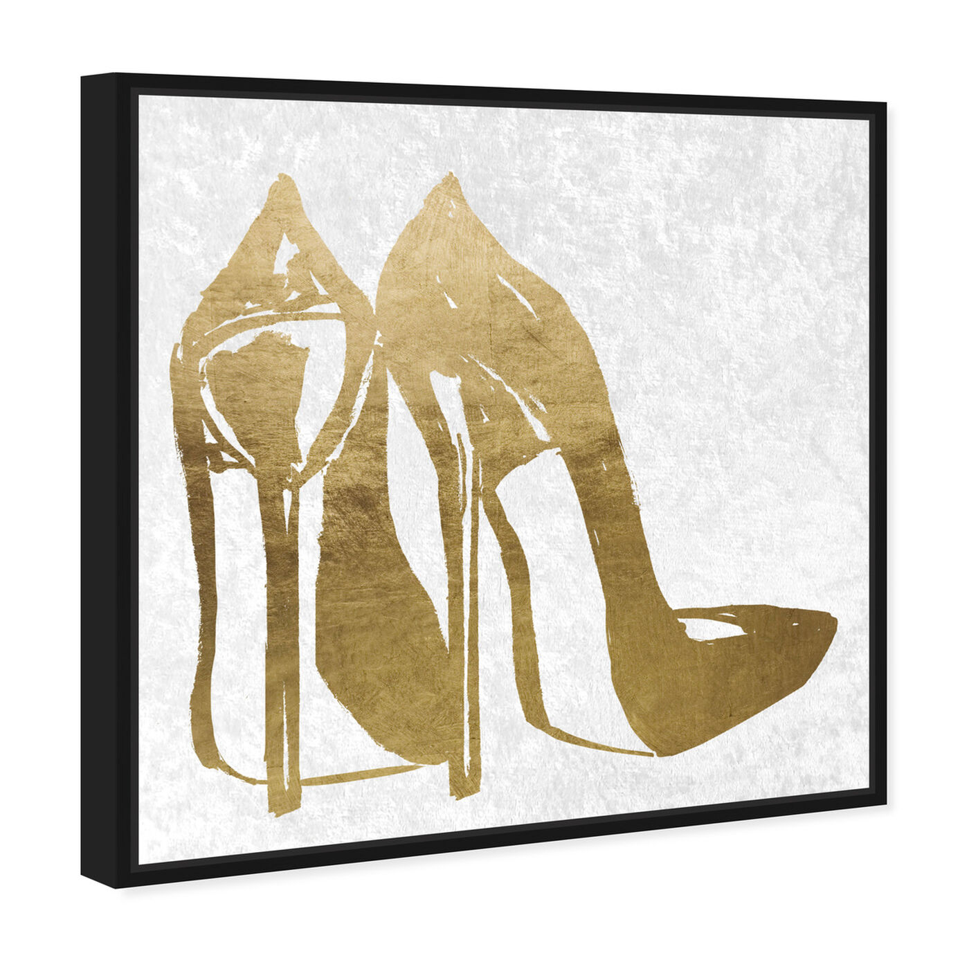 Angled view of Gold and Velvet Heels featuring fashion and glam and shoes art.