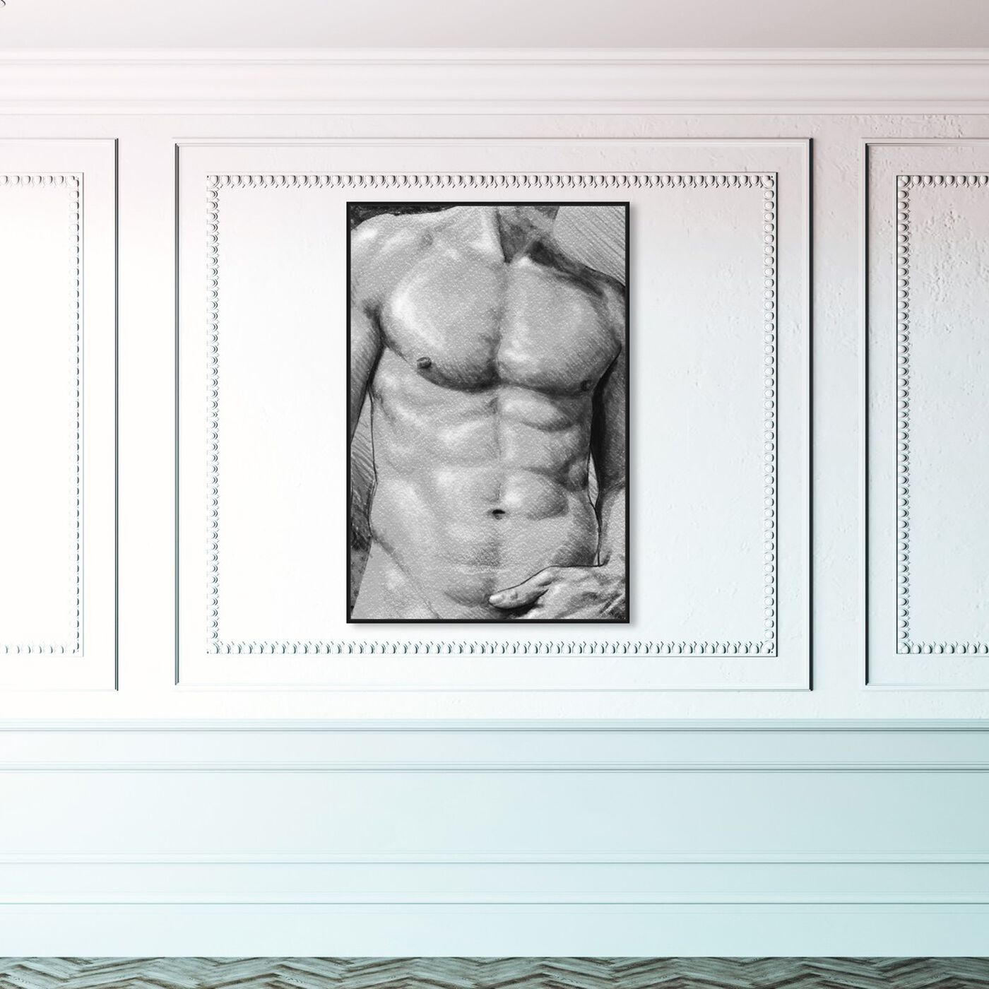 Hanging view of Male Torso in Gray featuring people and portraits and nudes art.