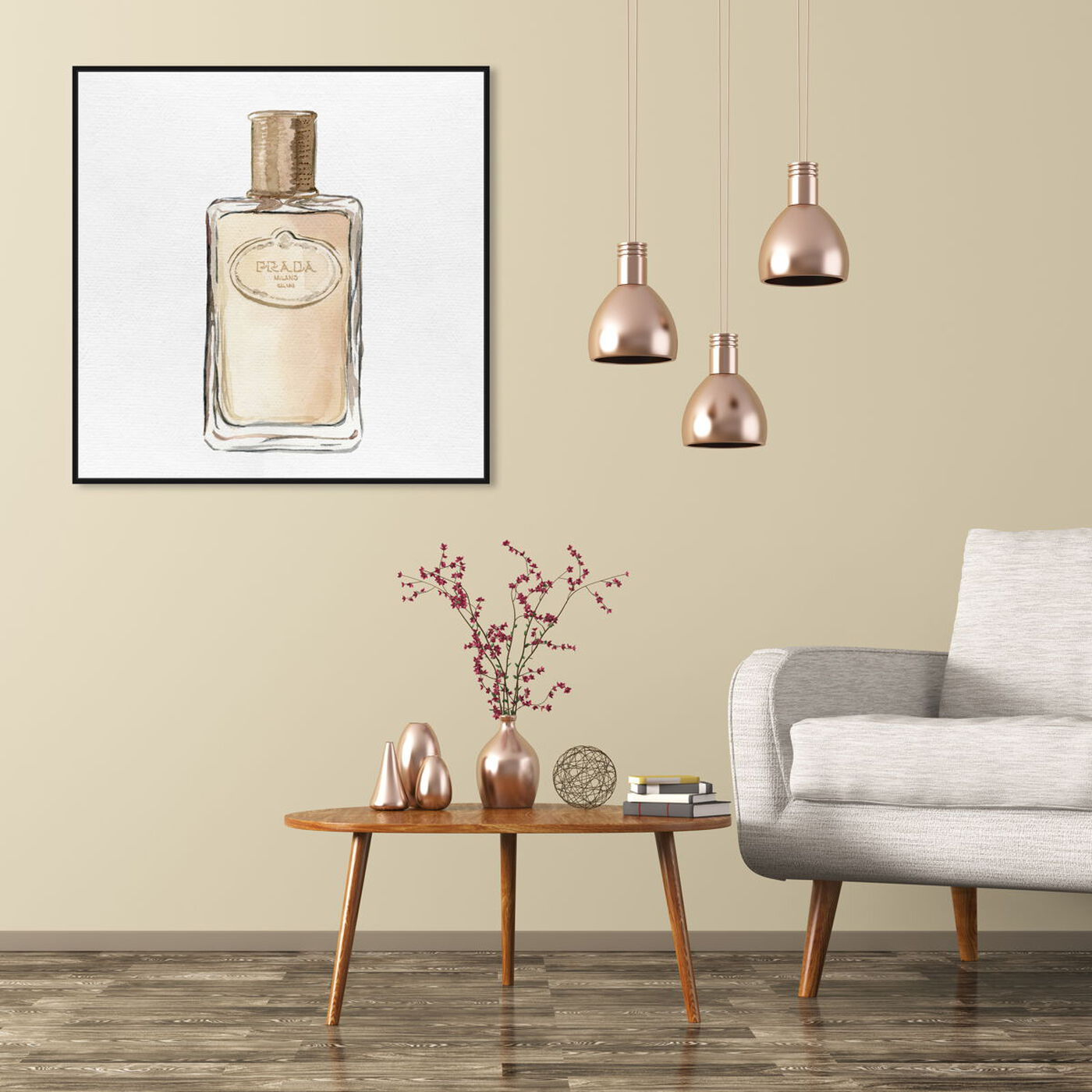 Hanging view of Golden Crystal Bottle featuring fashion and glam and perfumes art.