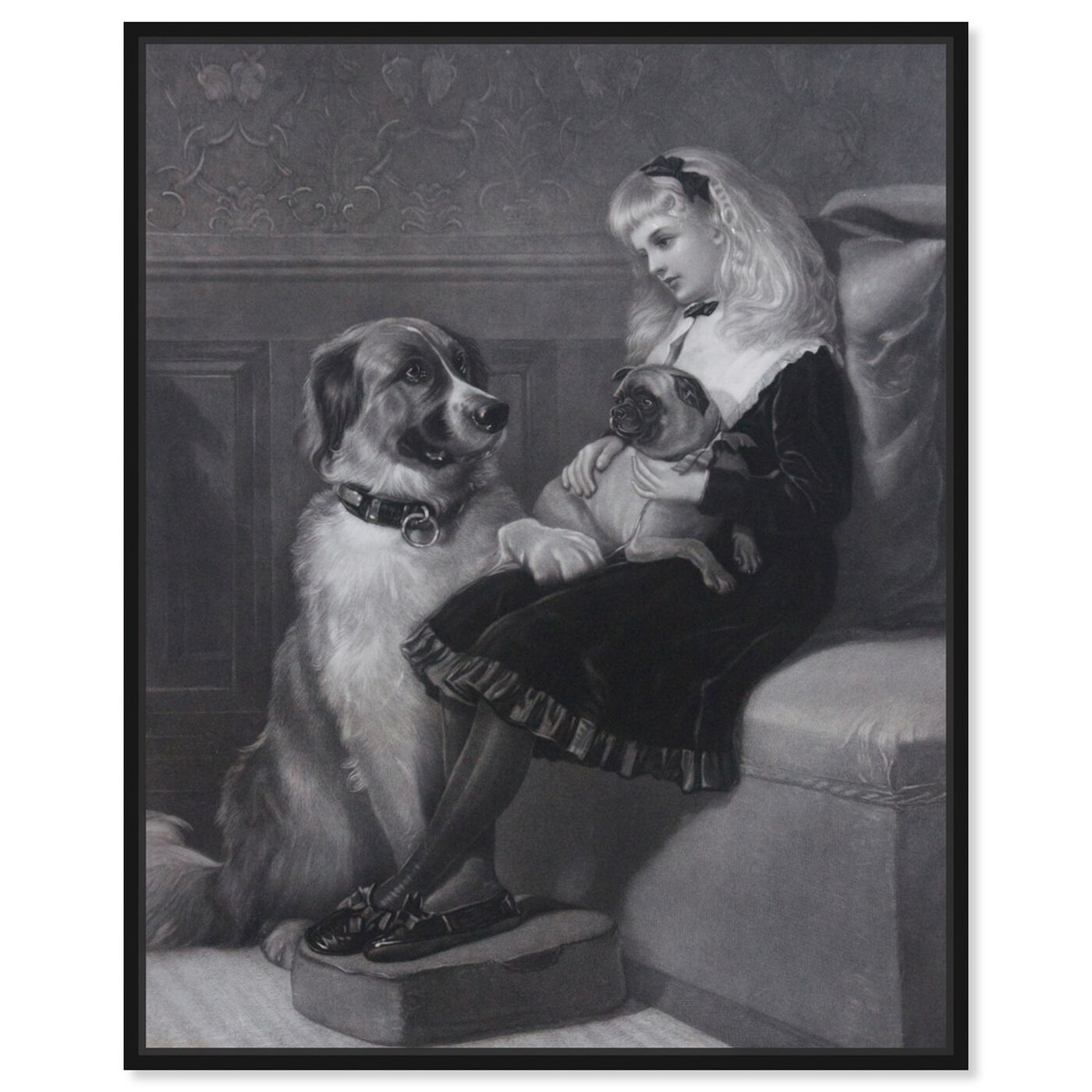 Front view of H Hardy - Her only Playmates 1881 featuring animals and dogs and puppies art.
