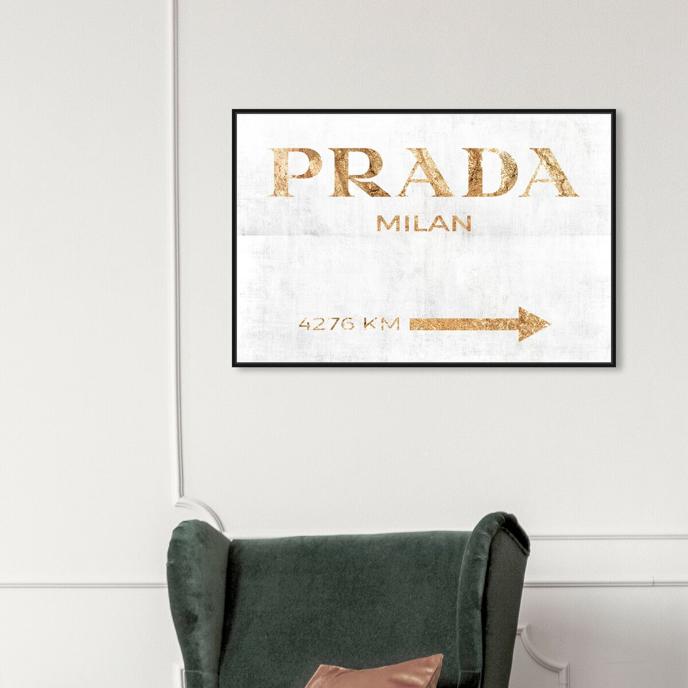 Hanging view of Milan Pure featuring fashion and glam and road signs art.