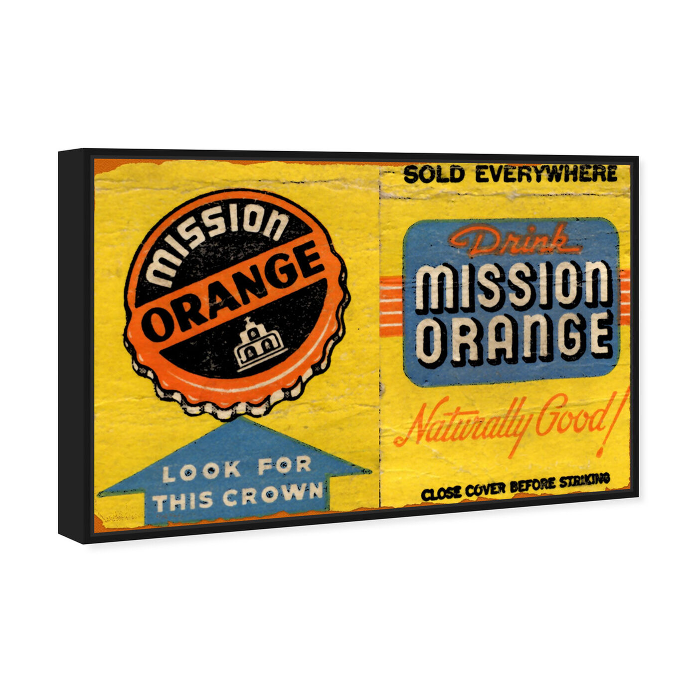 Angled view of Mission Orange featuring advertising and posters art.