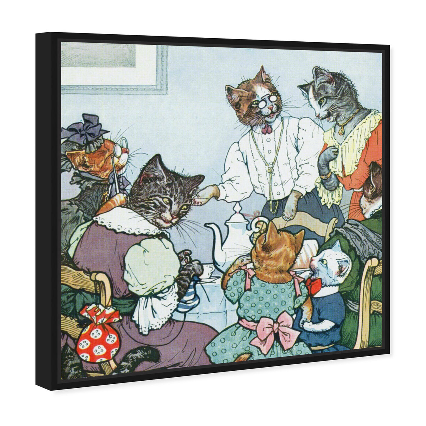 Angled view of The Cat Family featuring animals and cats and kitties art.