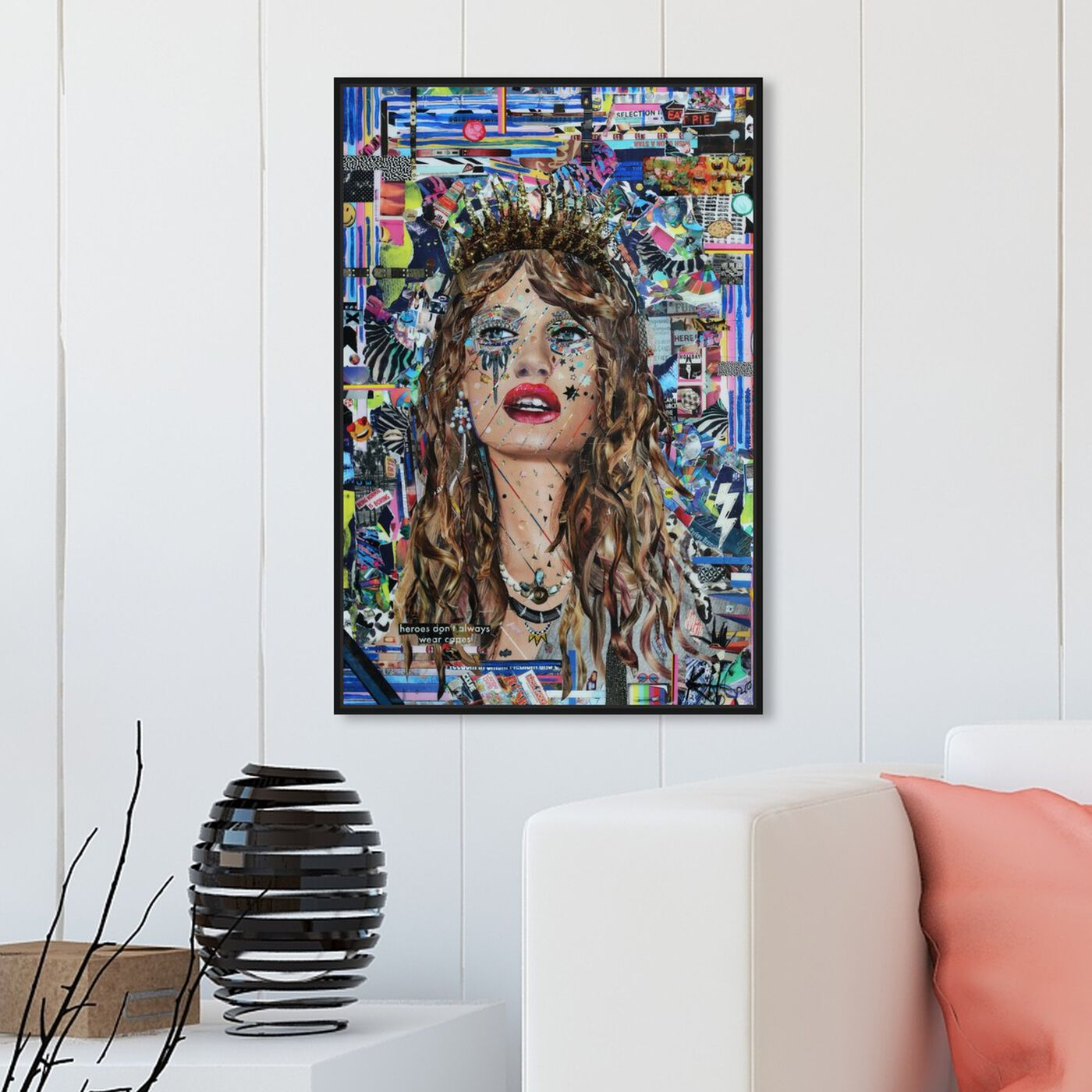Hanging view of Heroes by Katy Hirschfeld featuring fashion and glam and portraits art.