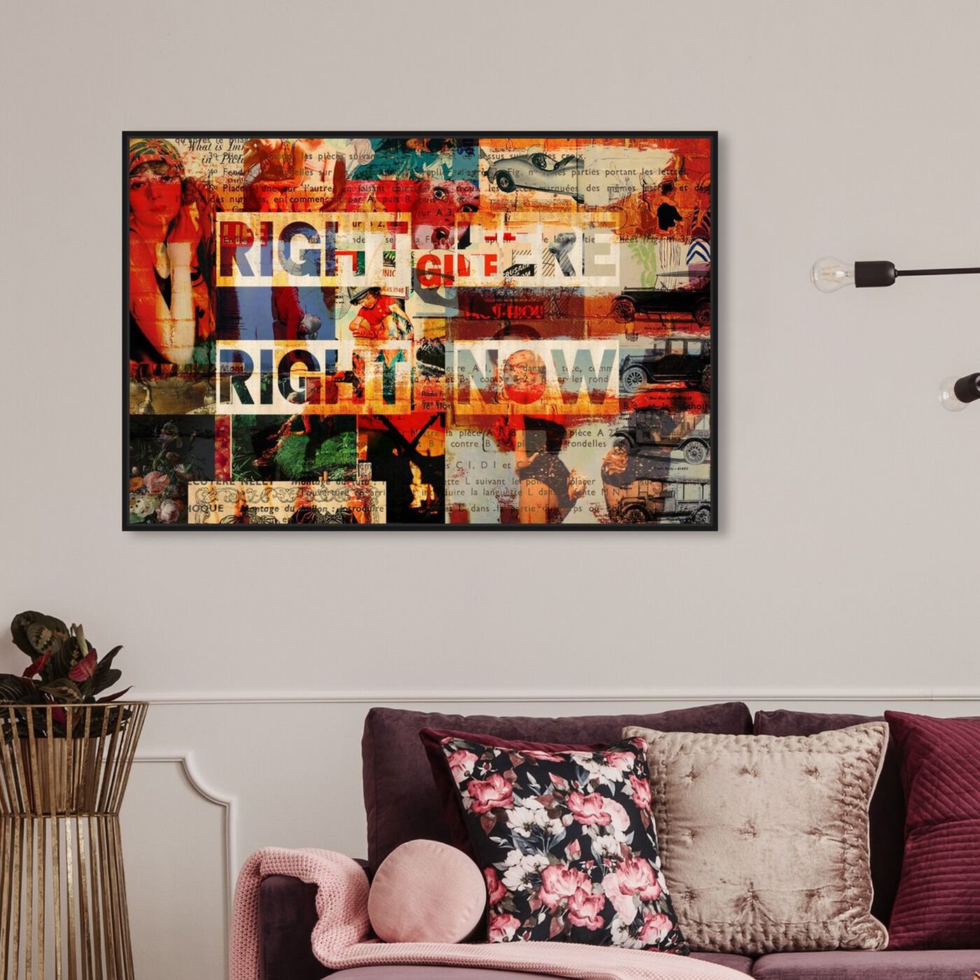Hanging view of Right Here featuring typography and quotes and quotes and sayings art.